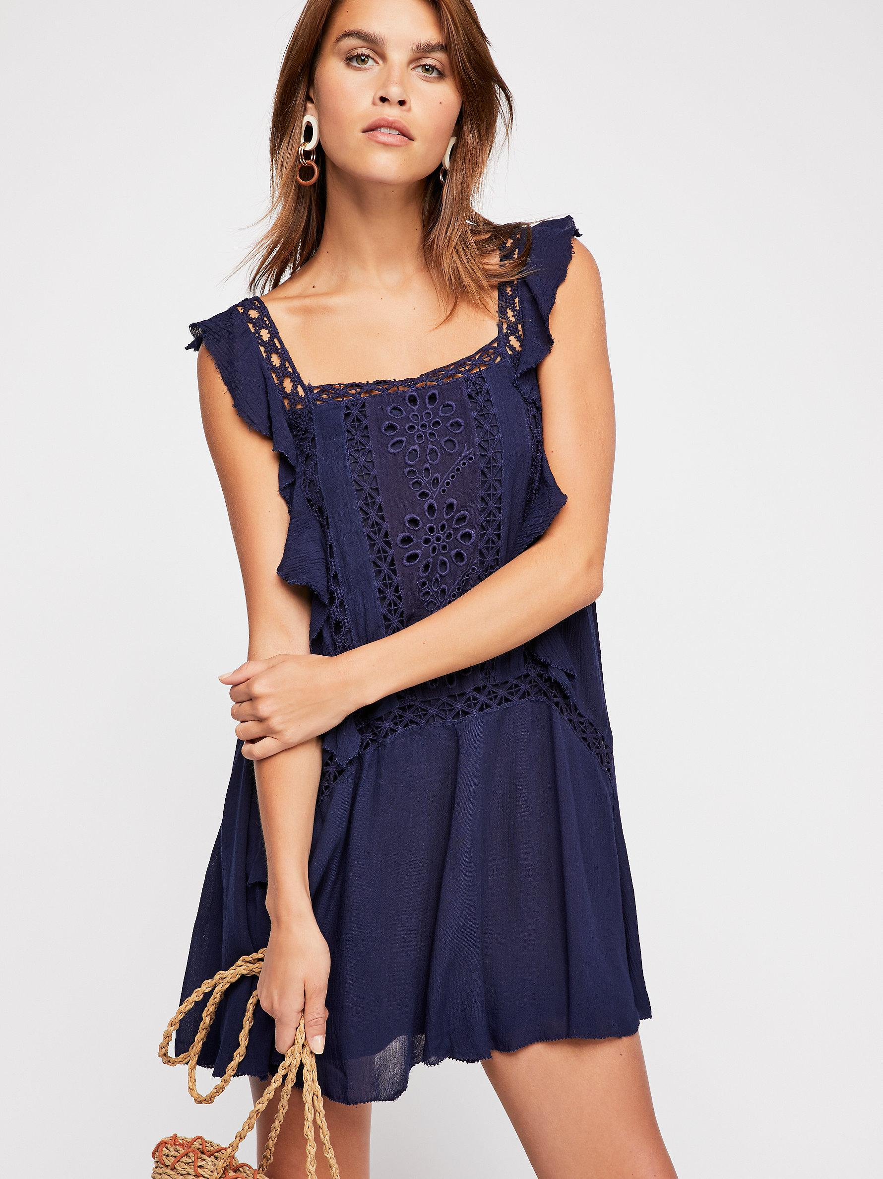 42f111fe3bad Free People Priscilla Mini Dress in Blue - Lyst