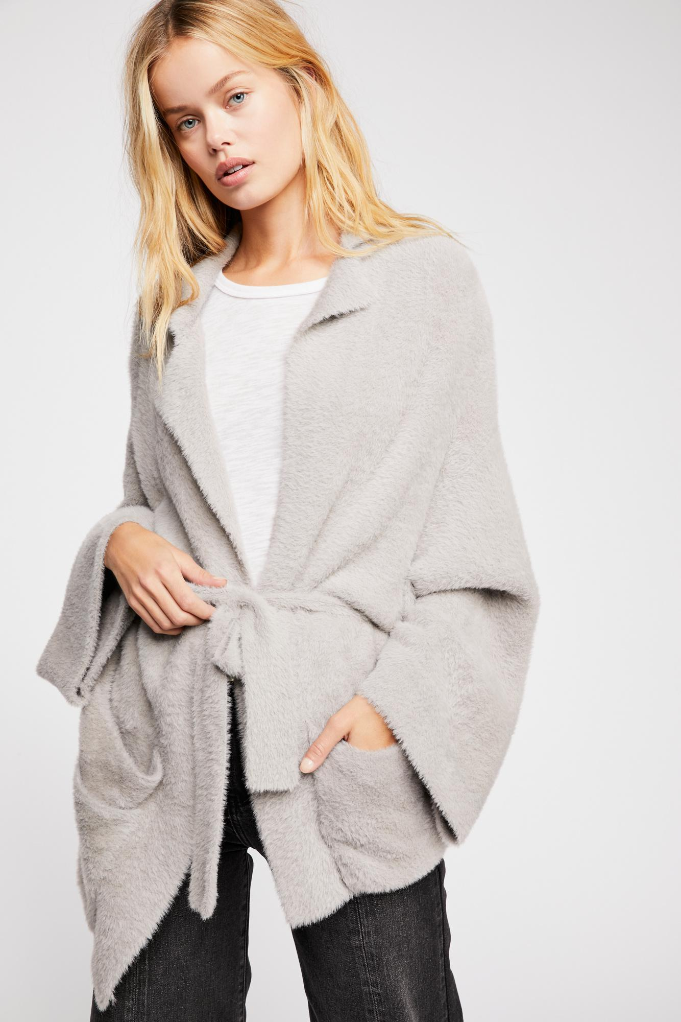 b206232ef9 Free People Fp One Jackson Wrap Sweater in Gray - Lyst