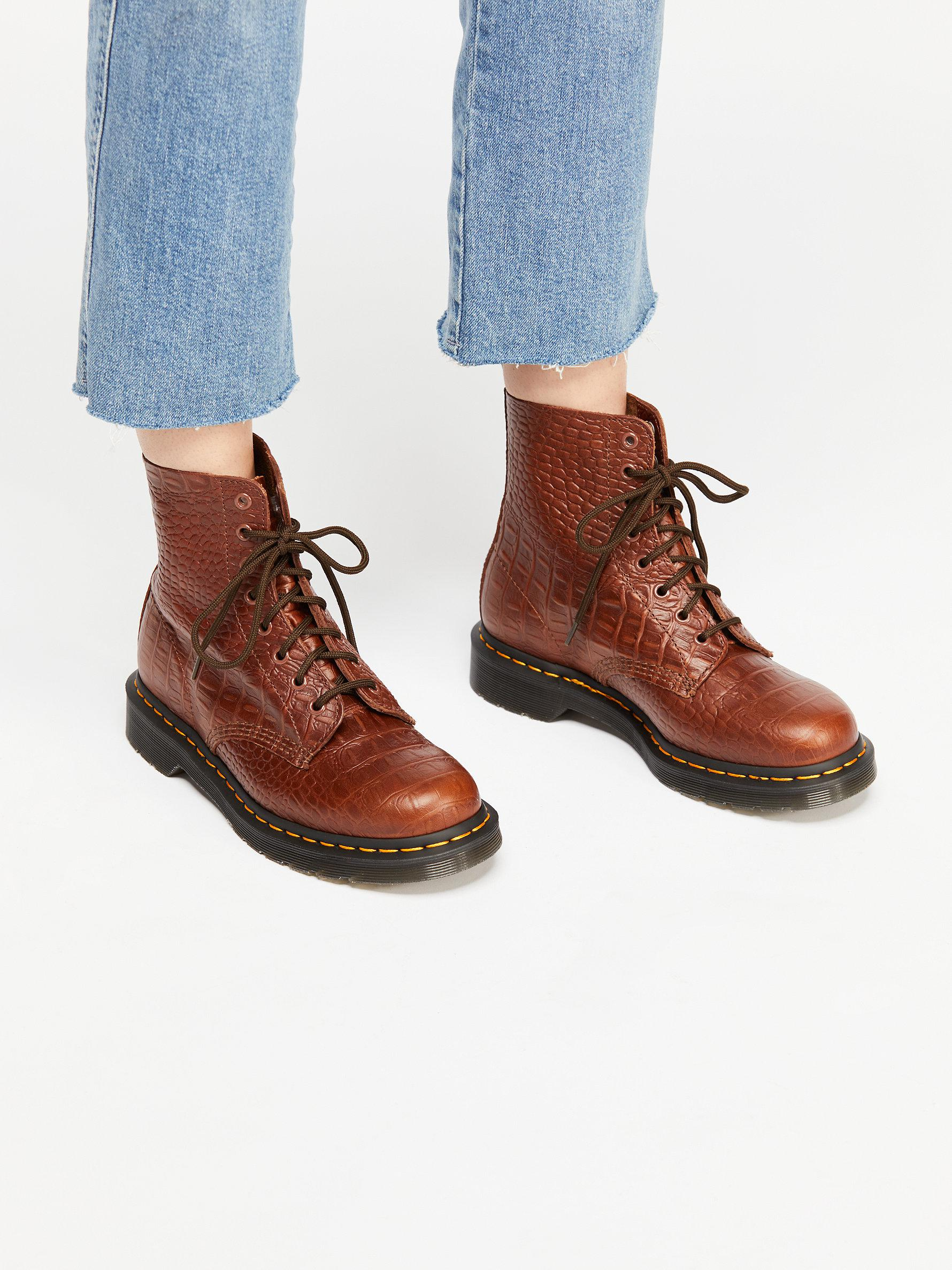 c5dd783101f Free People Dr. Martens Pascal Croc Boot in Brown - Lyst