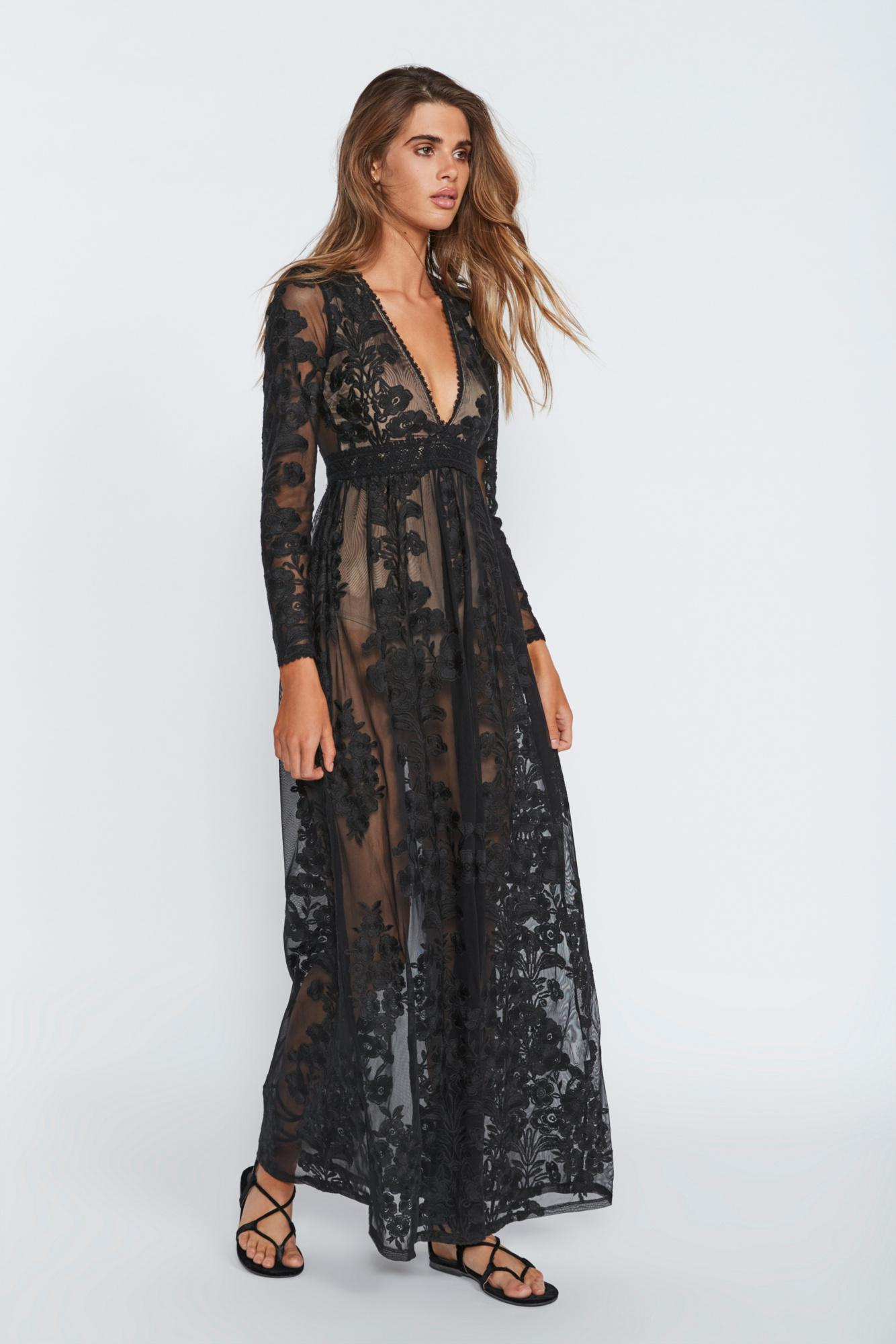 821e6c87679 Free People - Black Temecula Maxi Dress By For Love   Lemons - Lyst. View  fullscreen