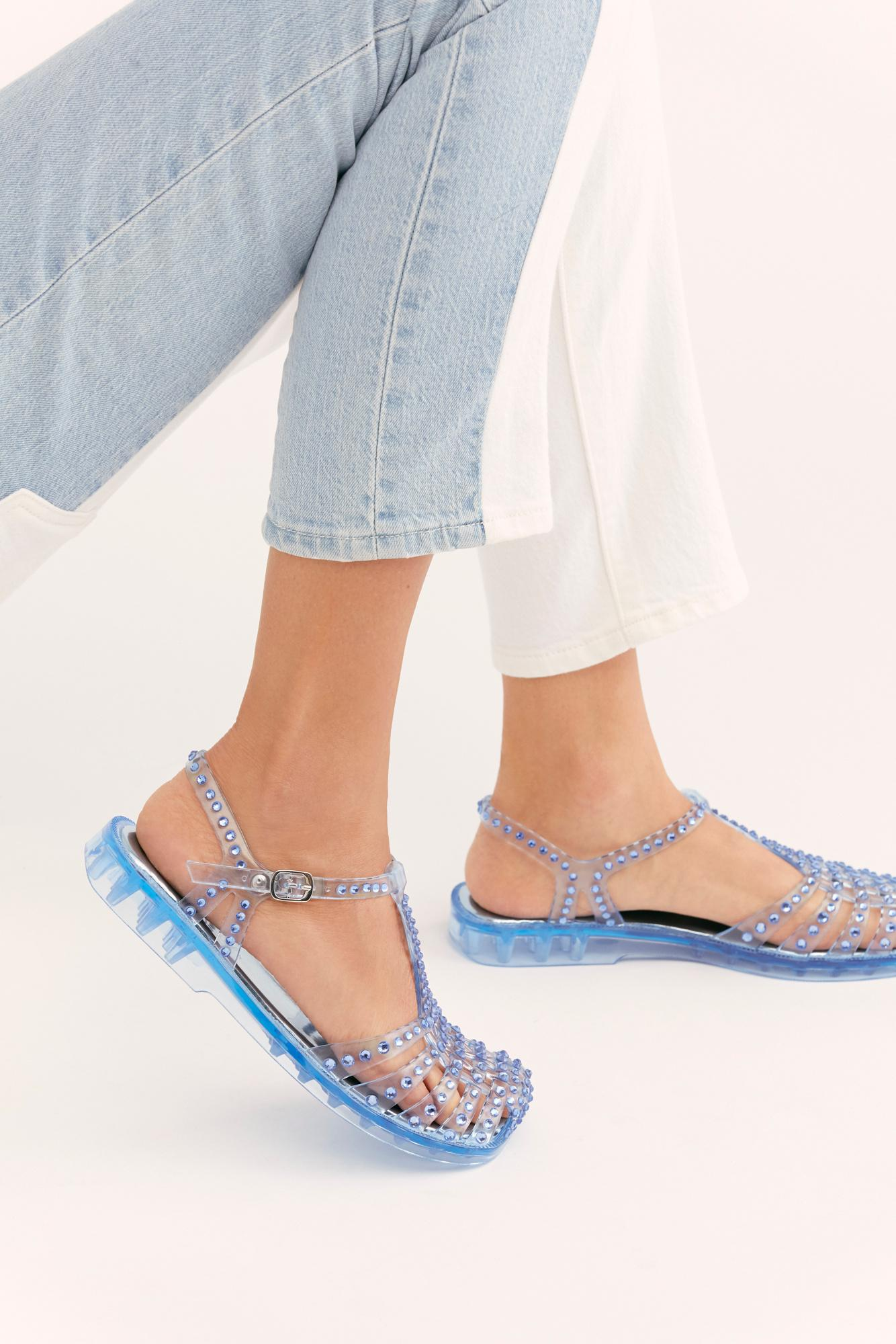 Lyst Free People Time Travel Jelly Sandal In Blue