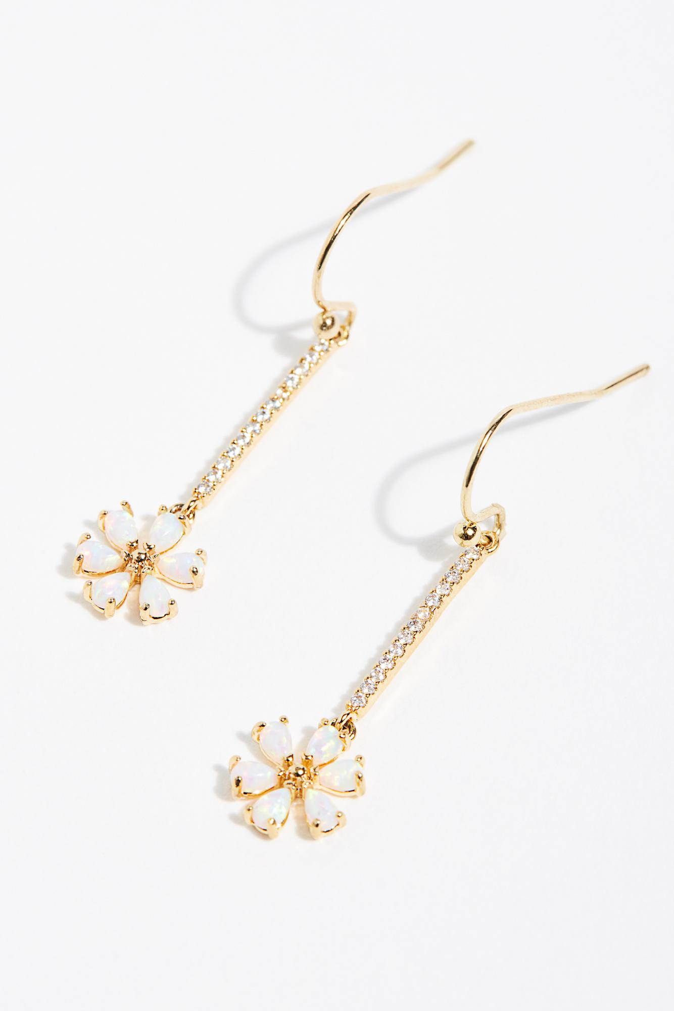 Free People Women S Metallic Tai Daisy Drop Threader Earrings