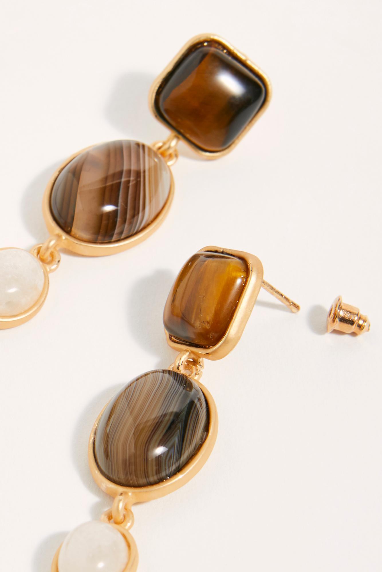 Free People Magnolia Stone Earrings in White - Lyst