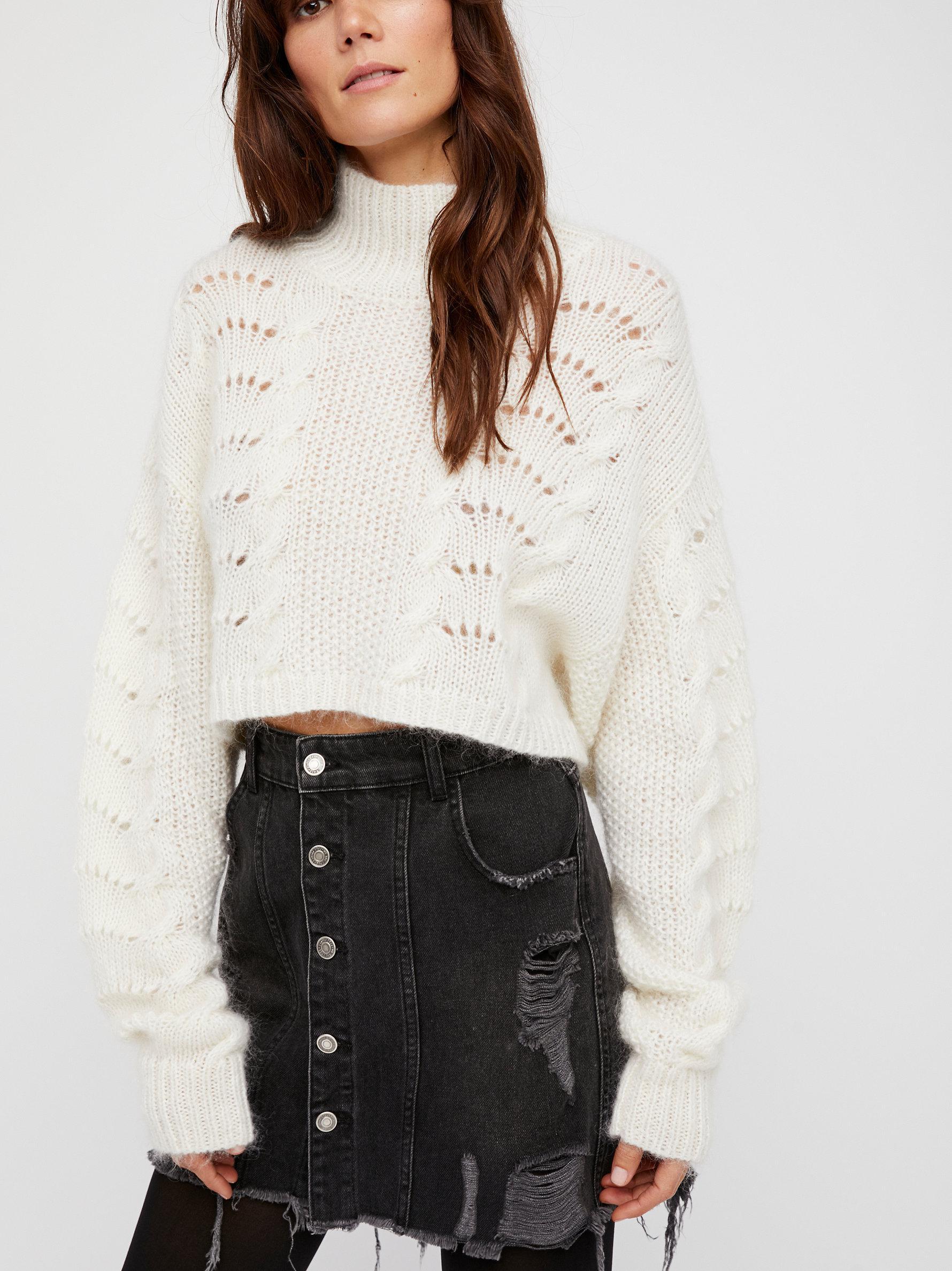 7fef4dba6968b Lyst - Free People Buttonfront Denim Mini Skirt in Black