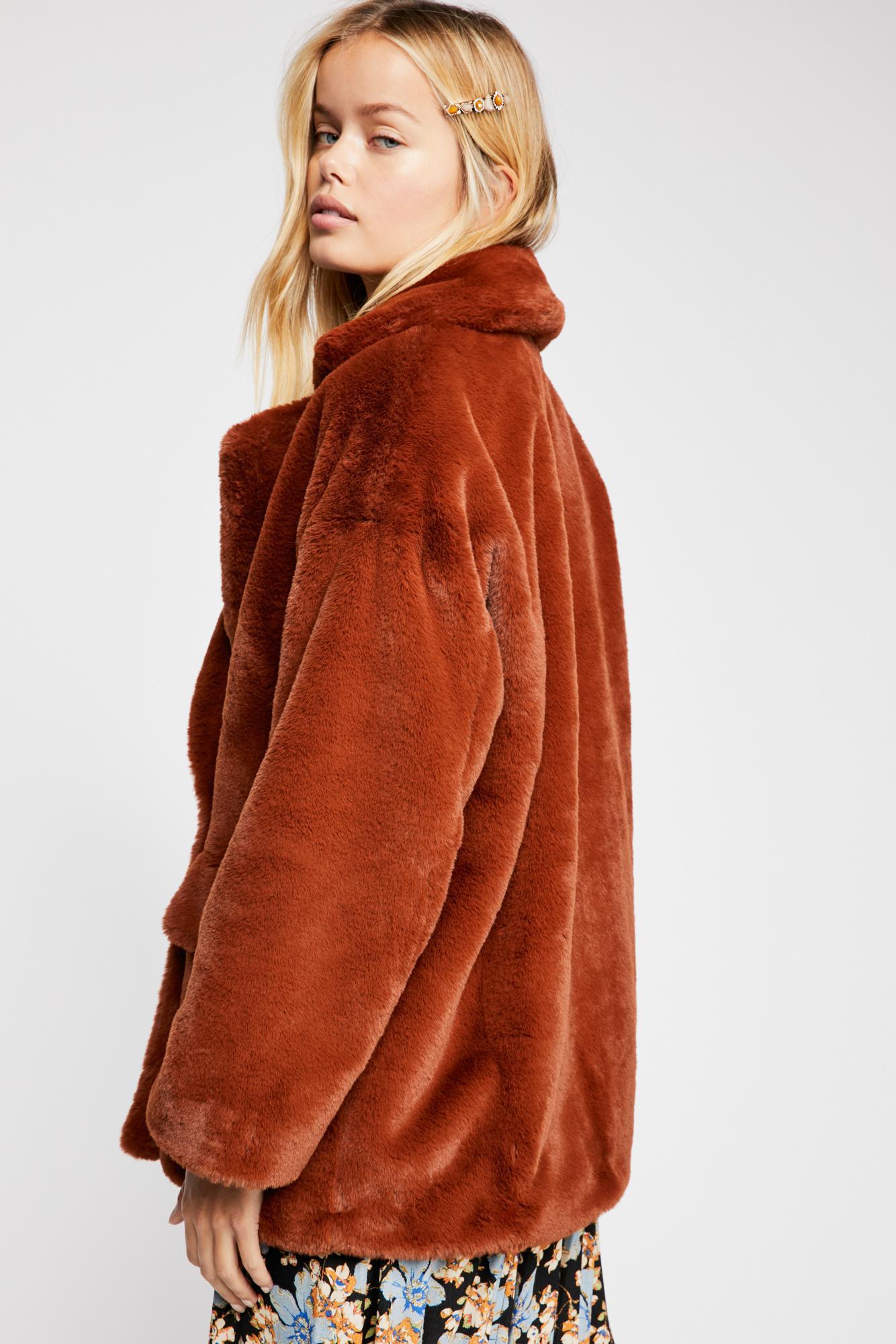 e837c437d9b0 Free People - Brown Solid Kate Faux Fur Coat - Lyst. View fullscreen