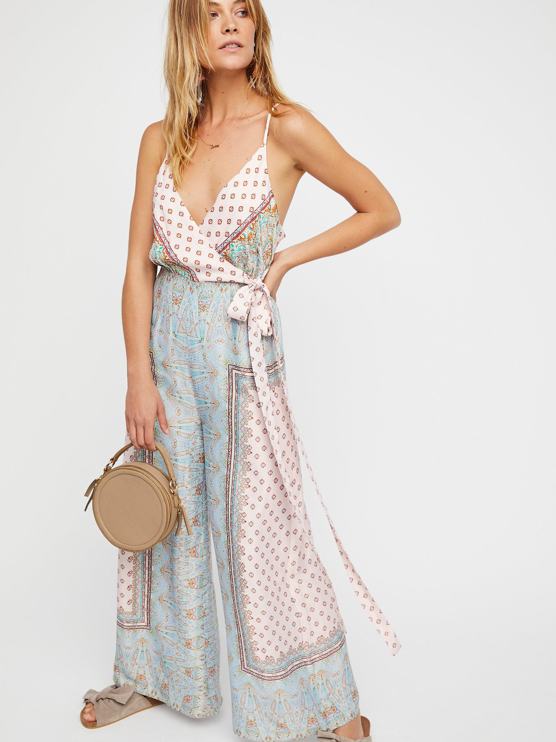 5237900289db Lyst - Free People Cabbage Rose Romper