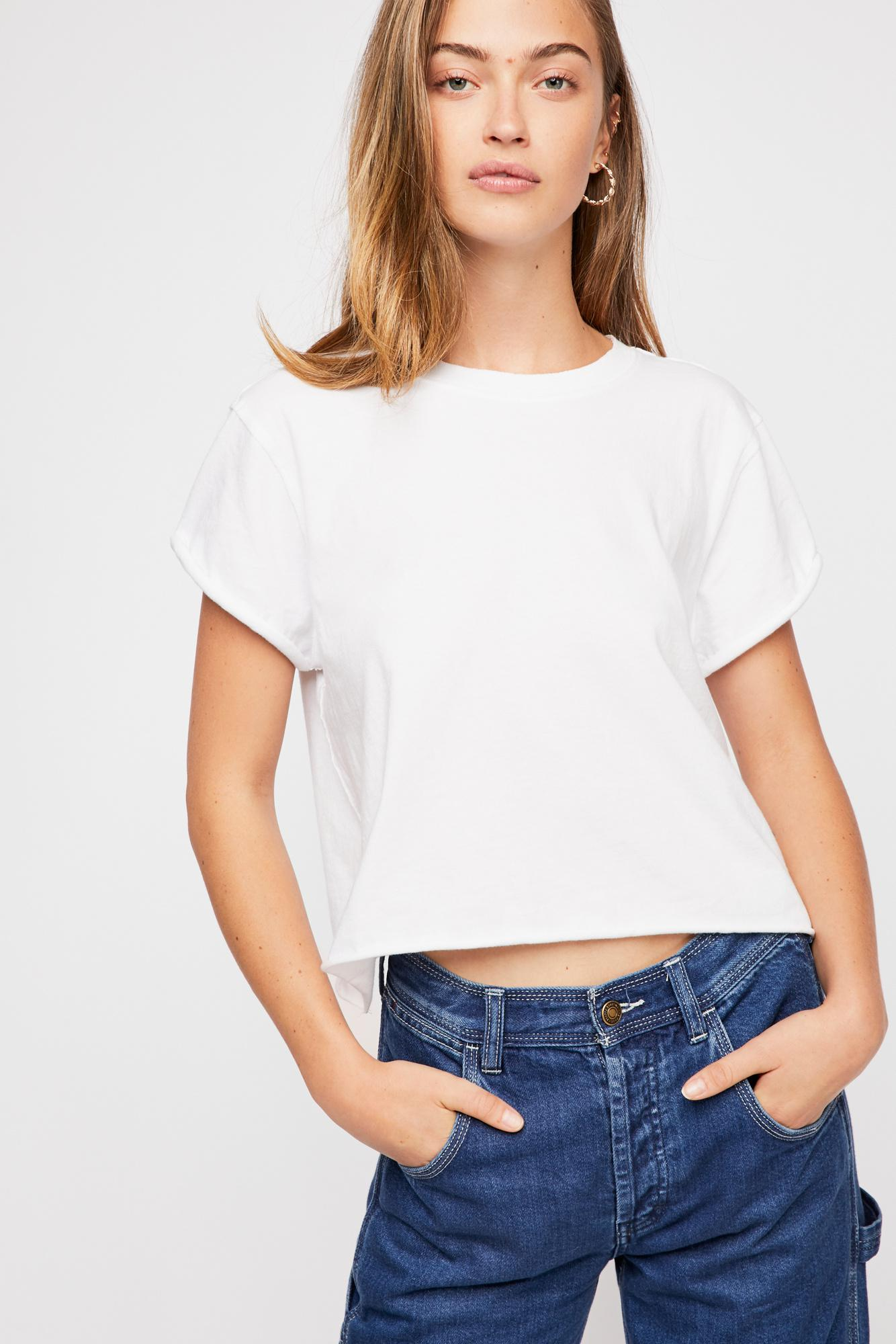 Plain White Crop Tee