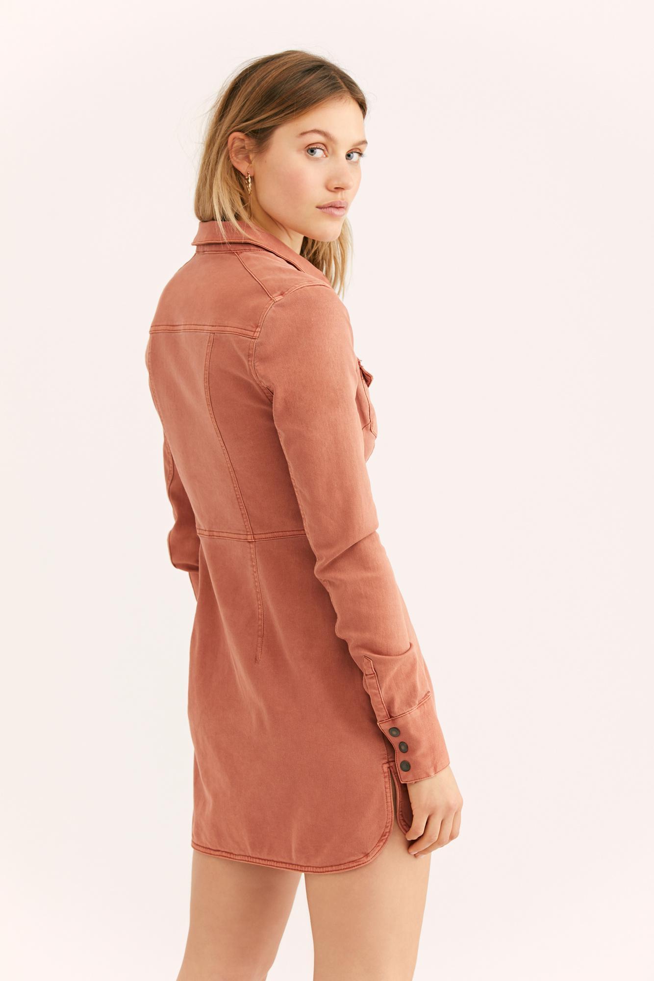 9f78ffee572 Free People - Orange Dynomite Denim Mini Dress - Lyst. View fullscreen