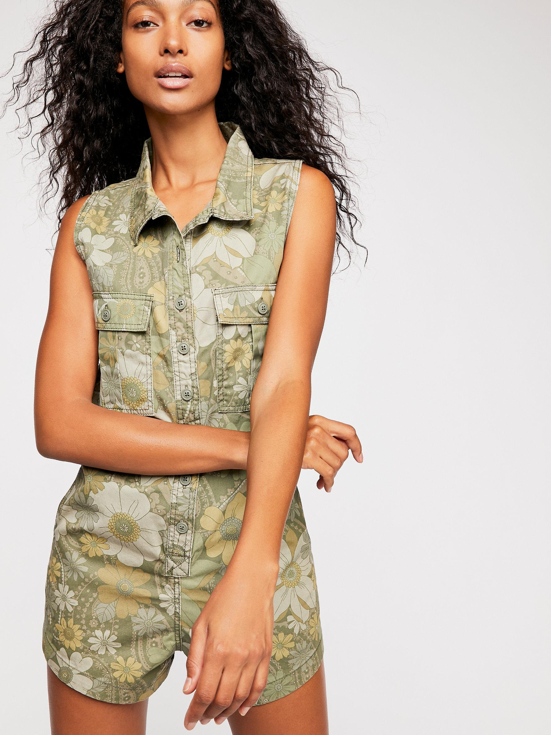 b59e9a21a13 Free People Eden Camo Playsuit in Green - Lyst
