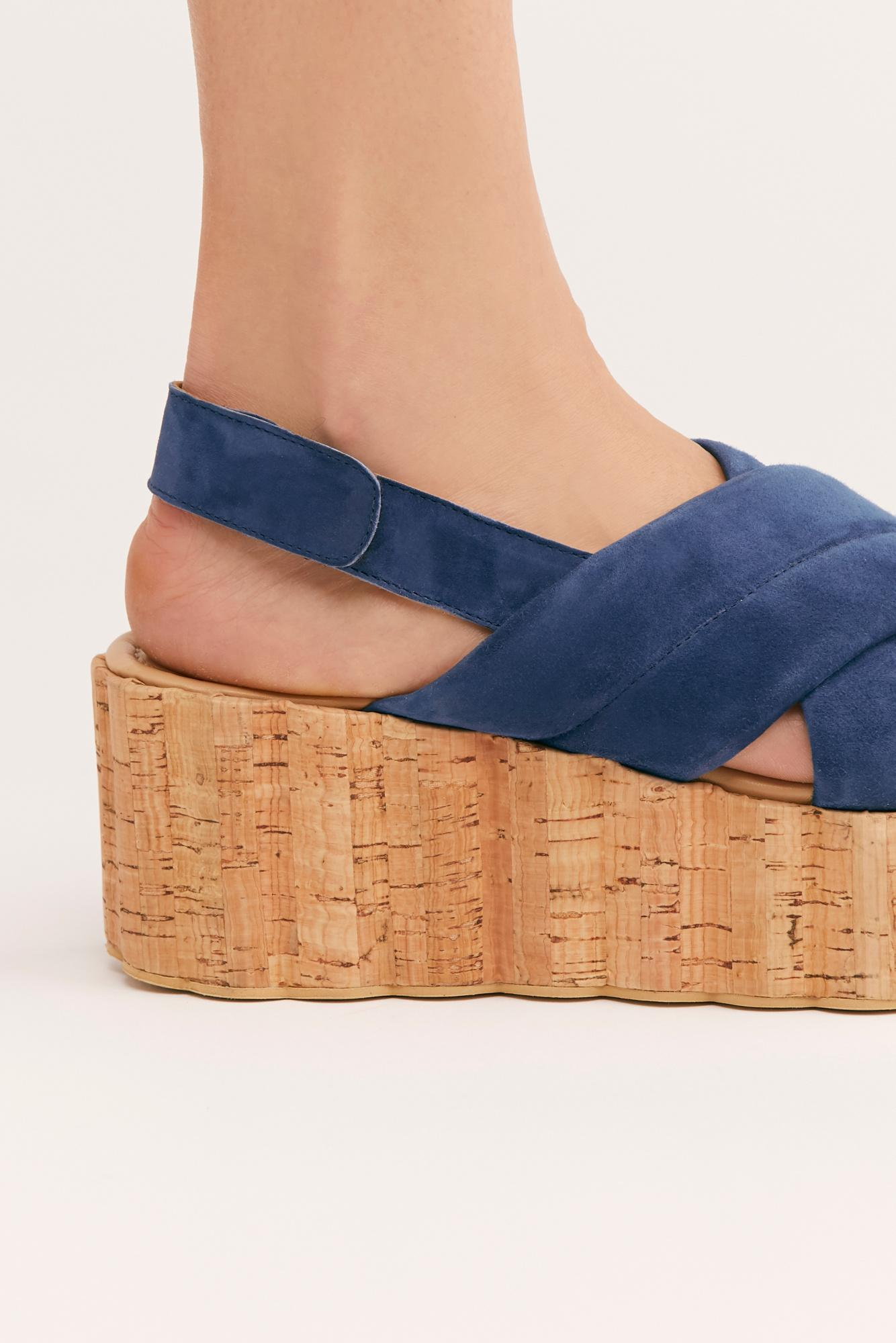 0b6c09aa680 Lyst - Free People Noelle Flatform Sandal By Fp Collection in Blue