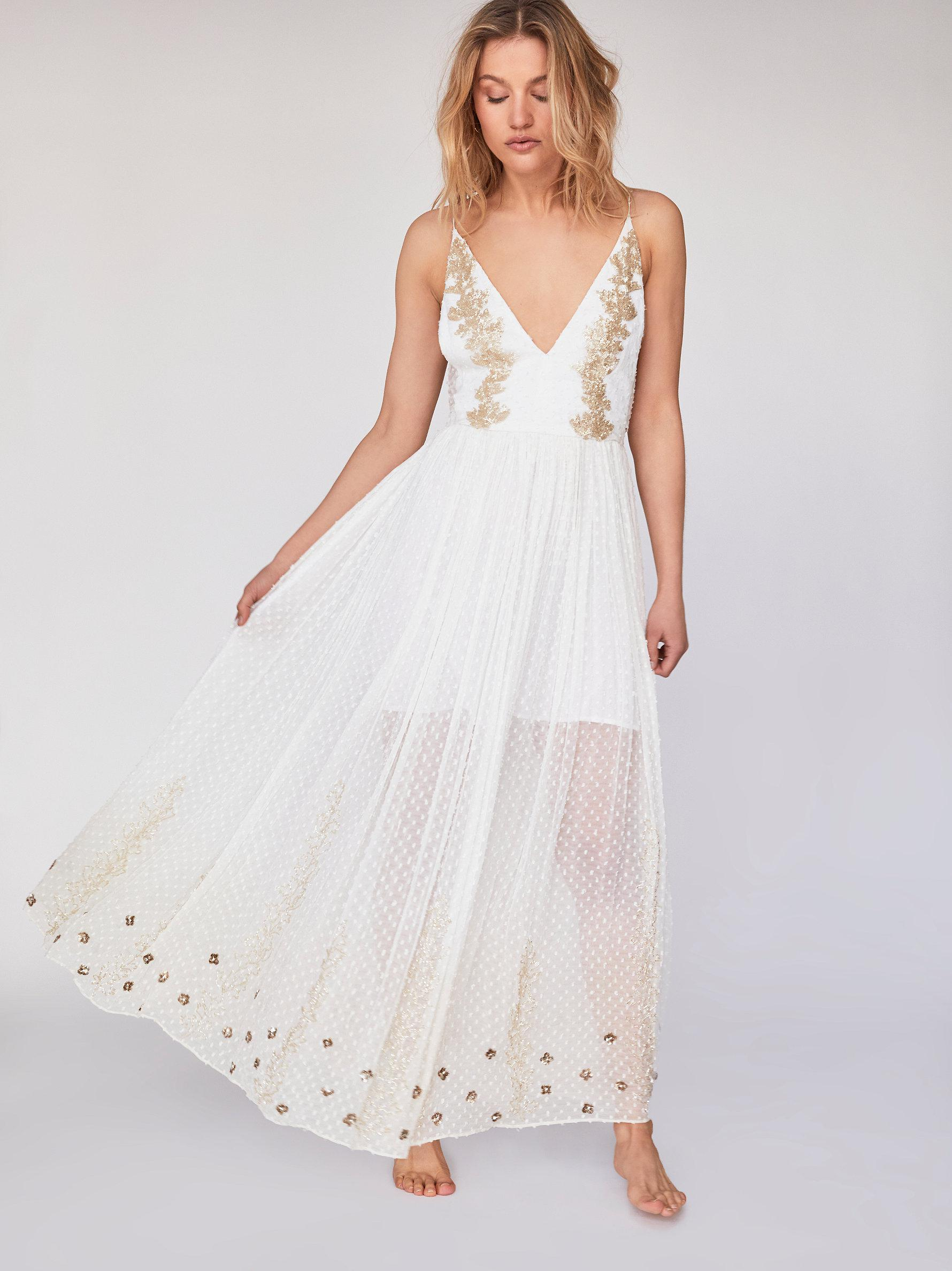 5c4efaacf4 Free People So Embellished Maxi Dress in White - Lyst