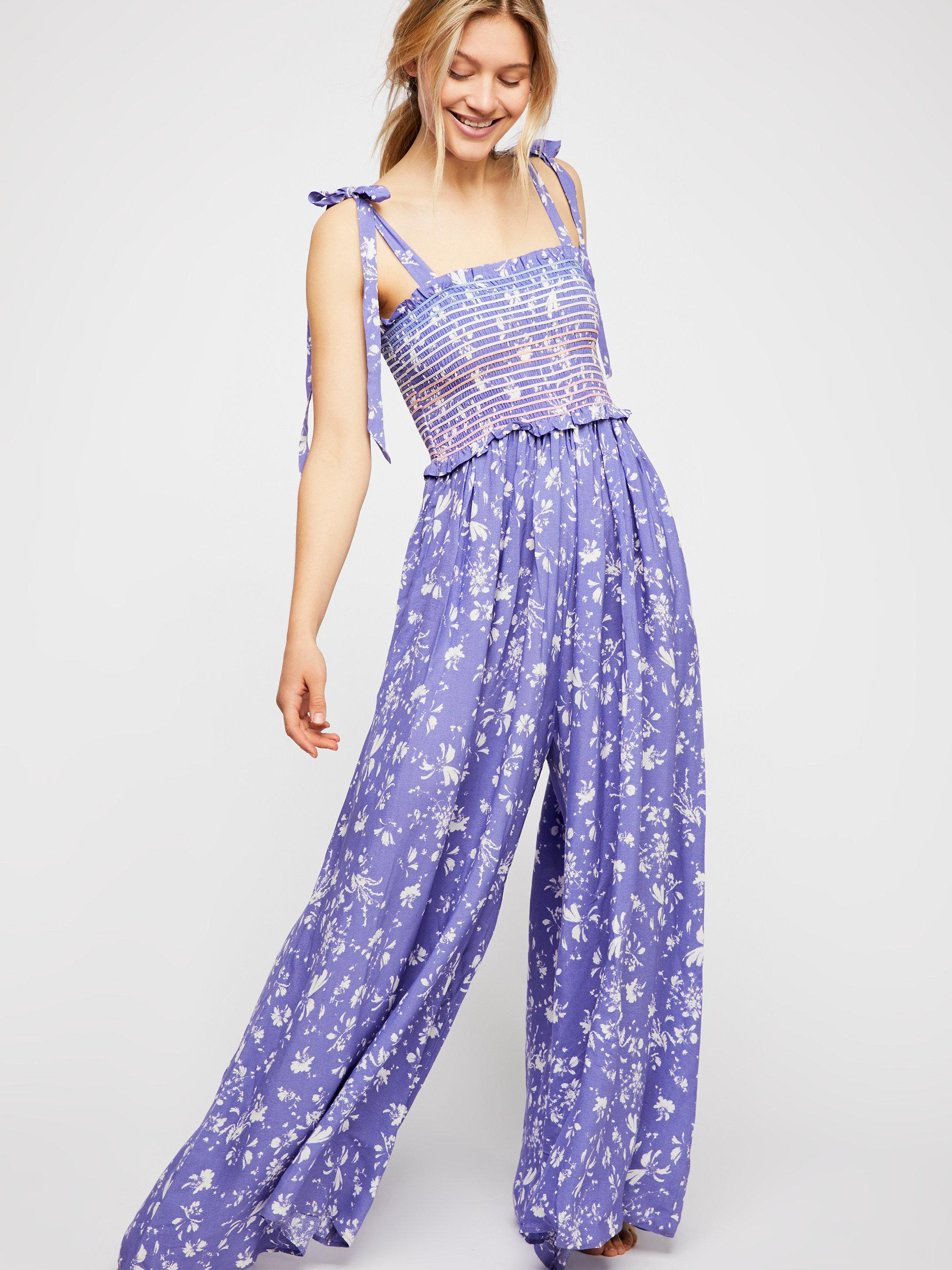 9e35f8438d9a Free People Color My World Floral Jumpsuit in Blue - Lyst