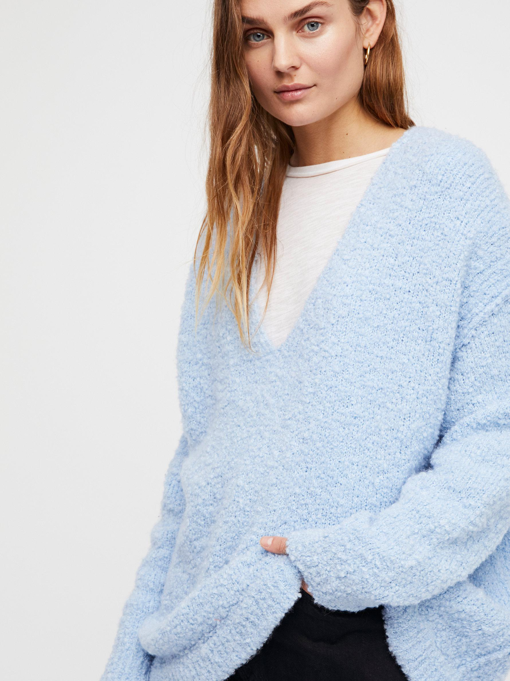 Lyst Free People Lofty V Neck Jumper In Blue