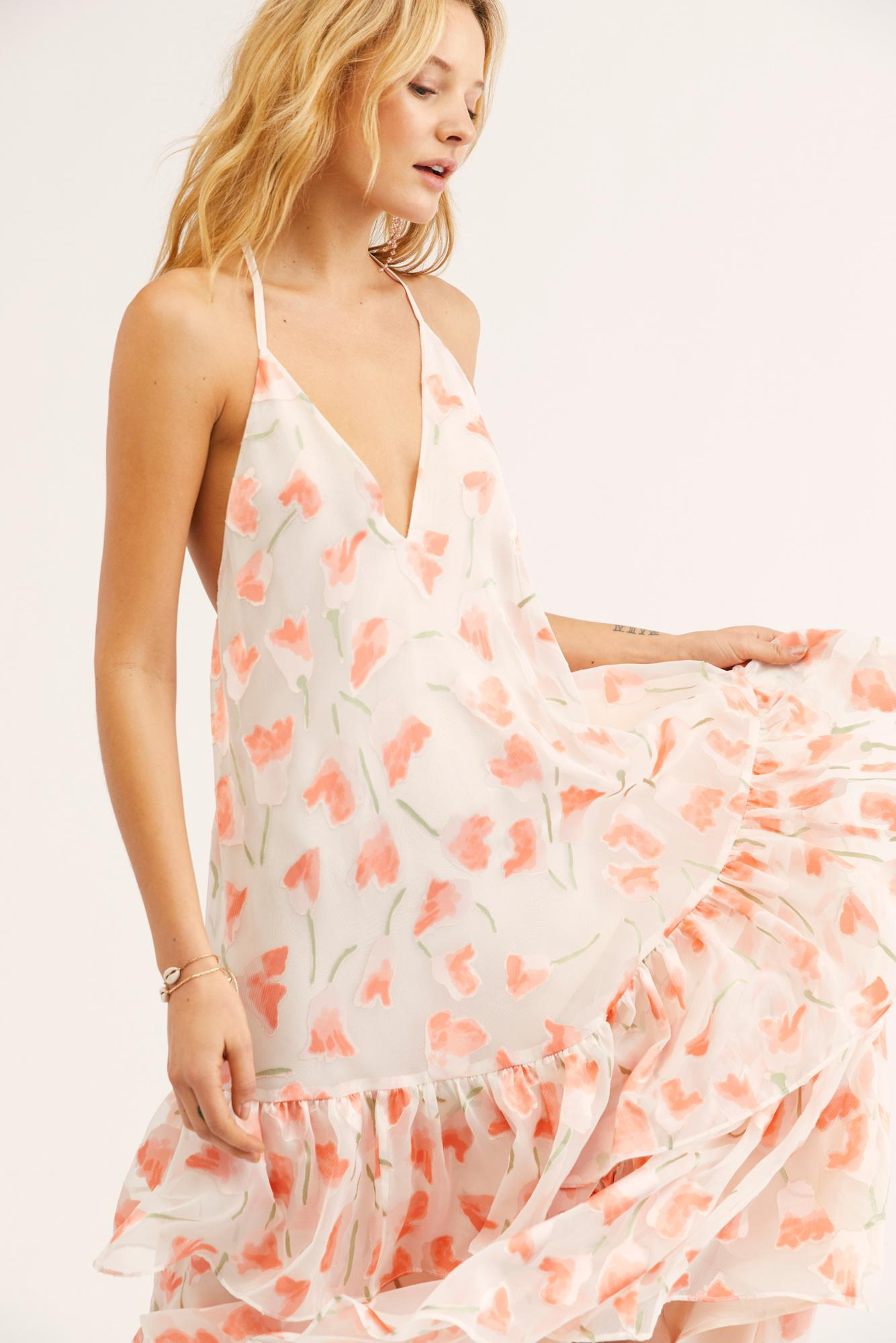 42041d4009b Lyst - Free People Valley Of Lilies Maxi Dress in White