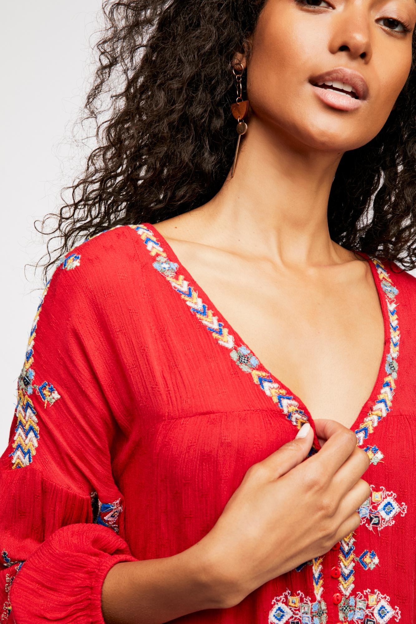 6f61c8447a0 Lyst - Free People The Arianna Embroidered Tunic in Red