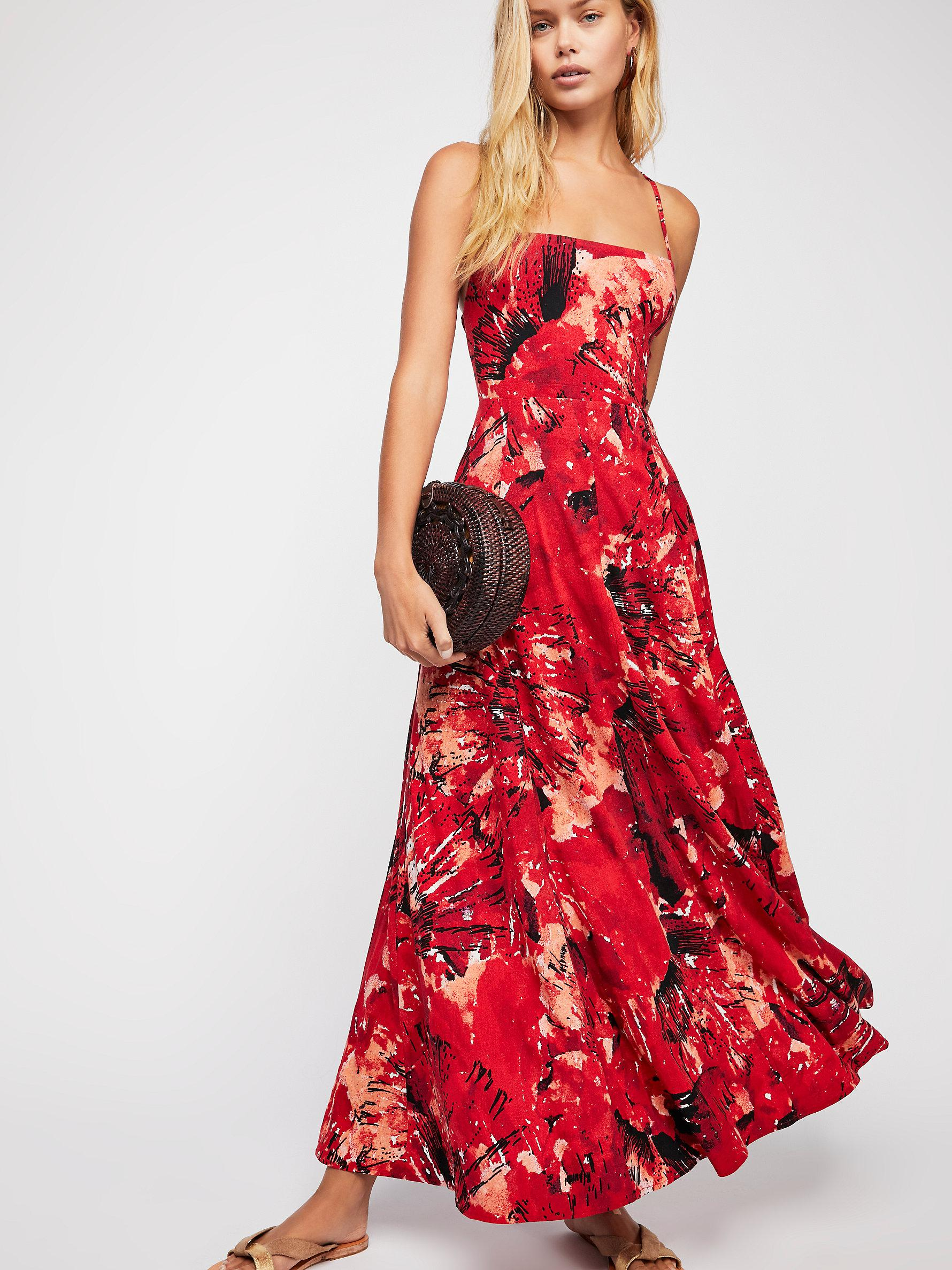 Lyst - Free People Nellie Printed Maxi Dress in Red