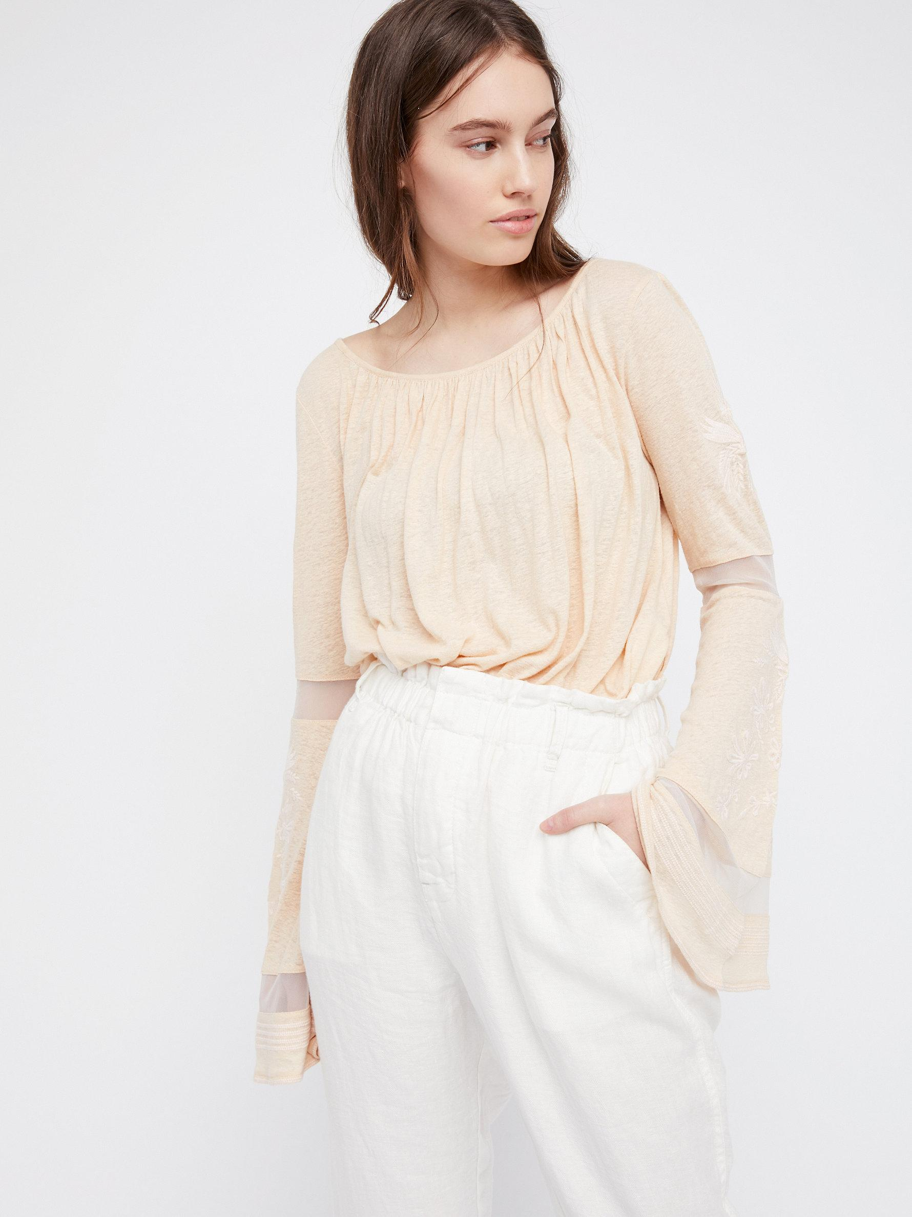 Lyst Free People Bonjour Bell Sleeve Tee In Natural