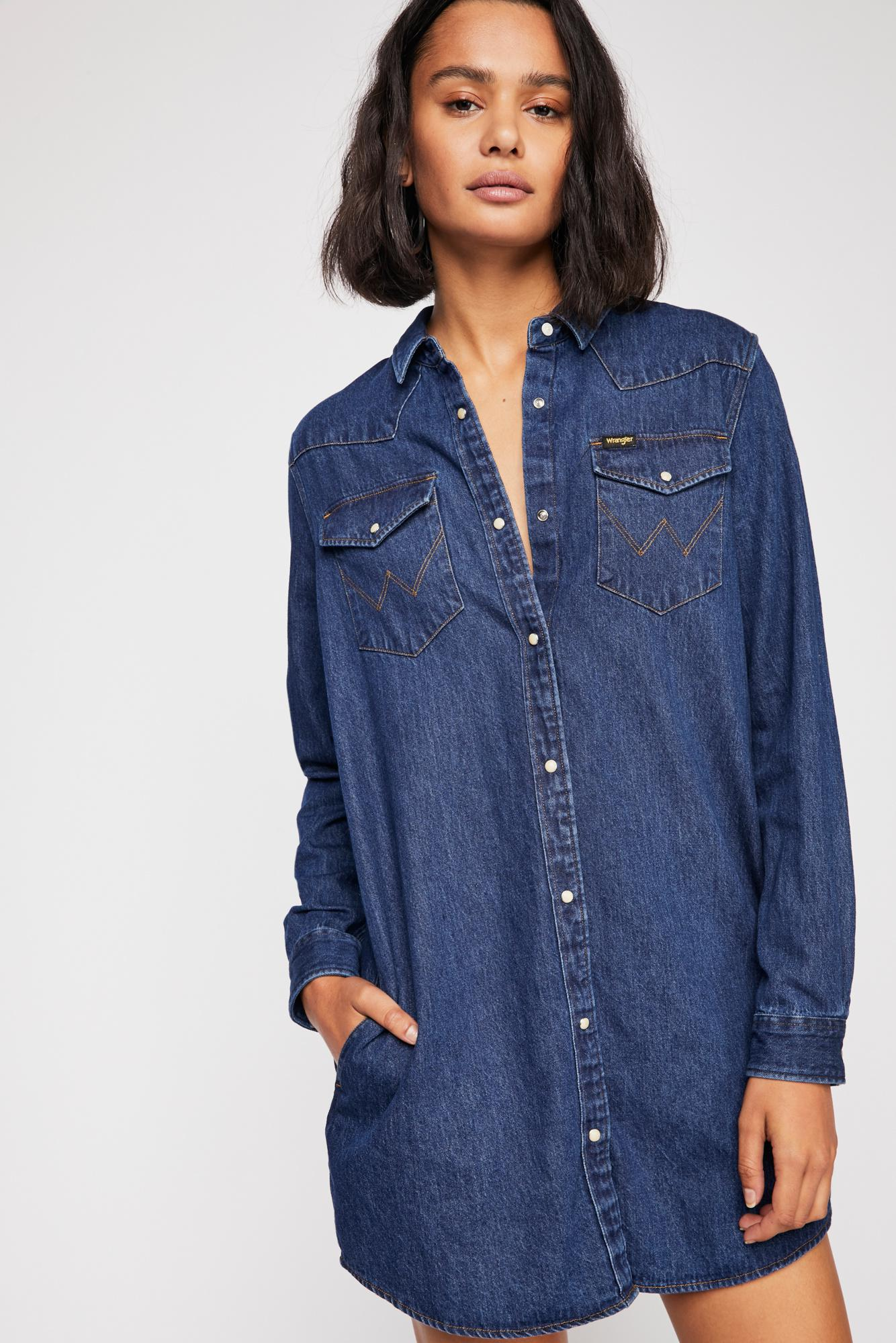 248c0acc8a Lyst - Free People Wrangler Denim Dress in Blue - Save 30%