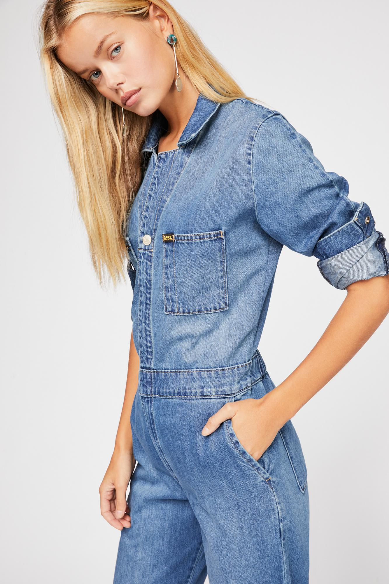 cfcd74ba1e Lyst - Free People Lee Union Coverall in Blue
