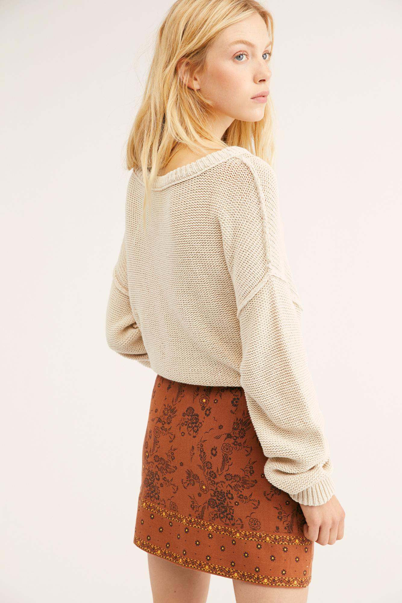 4e7536a2a100 Lyst - Free People Summer Love Mini Skirt in Brown