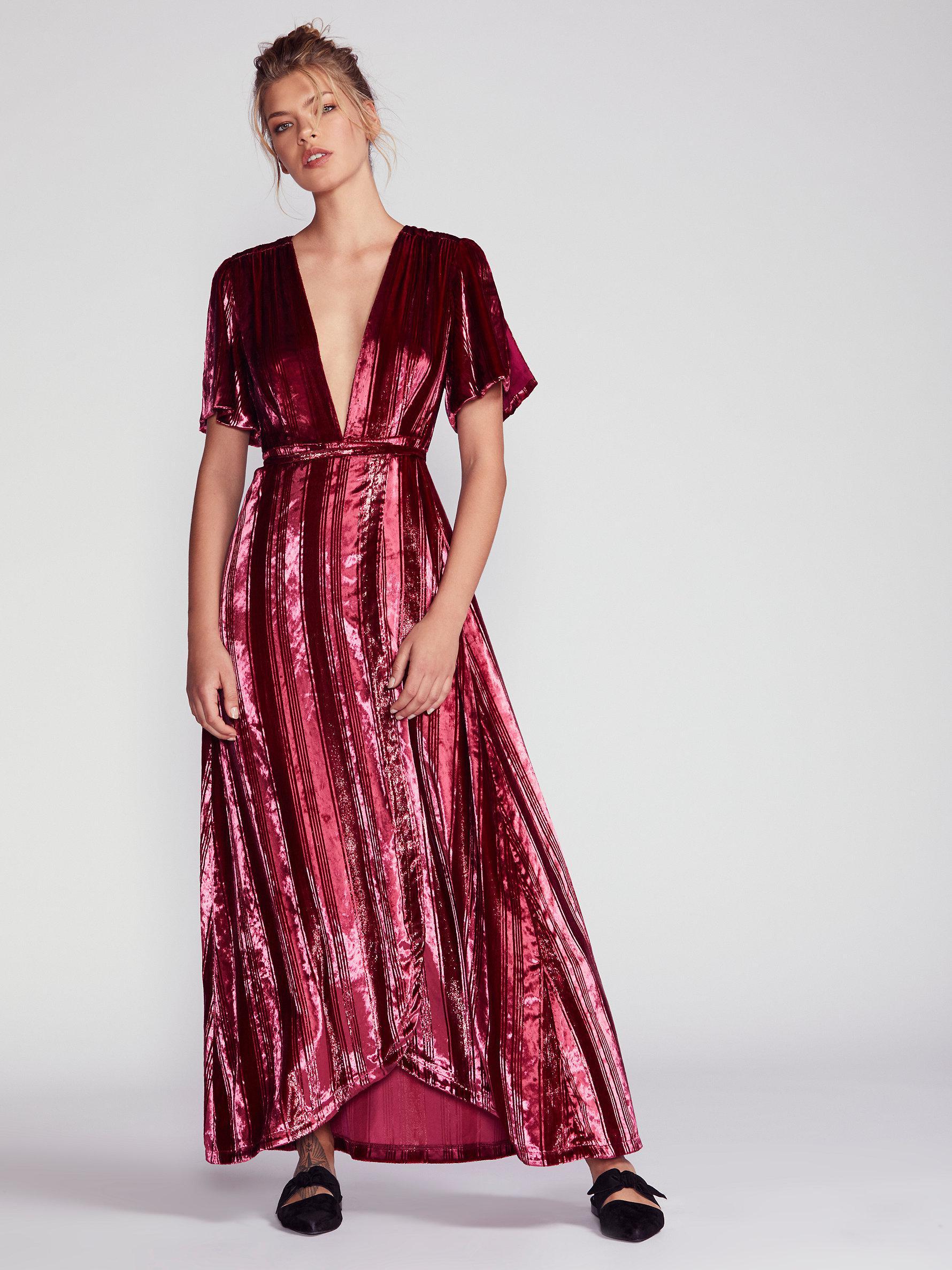 4b731890f94b Free People Kara Velvet Wrap Dress in Red - Lyst