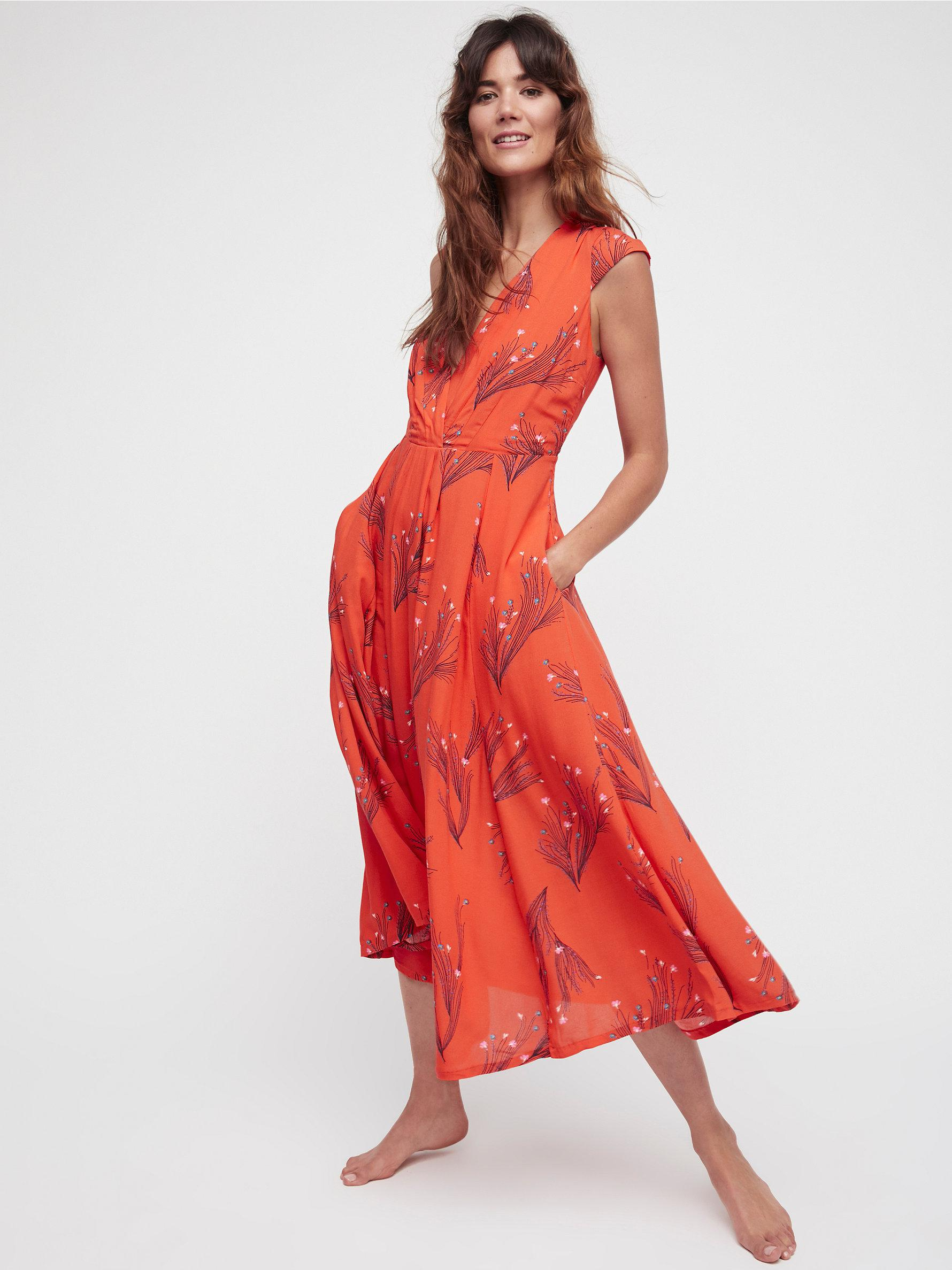 Lyst - Free People Printed Retro Midi Dress in Orange