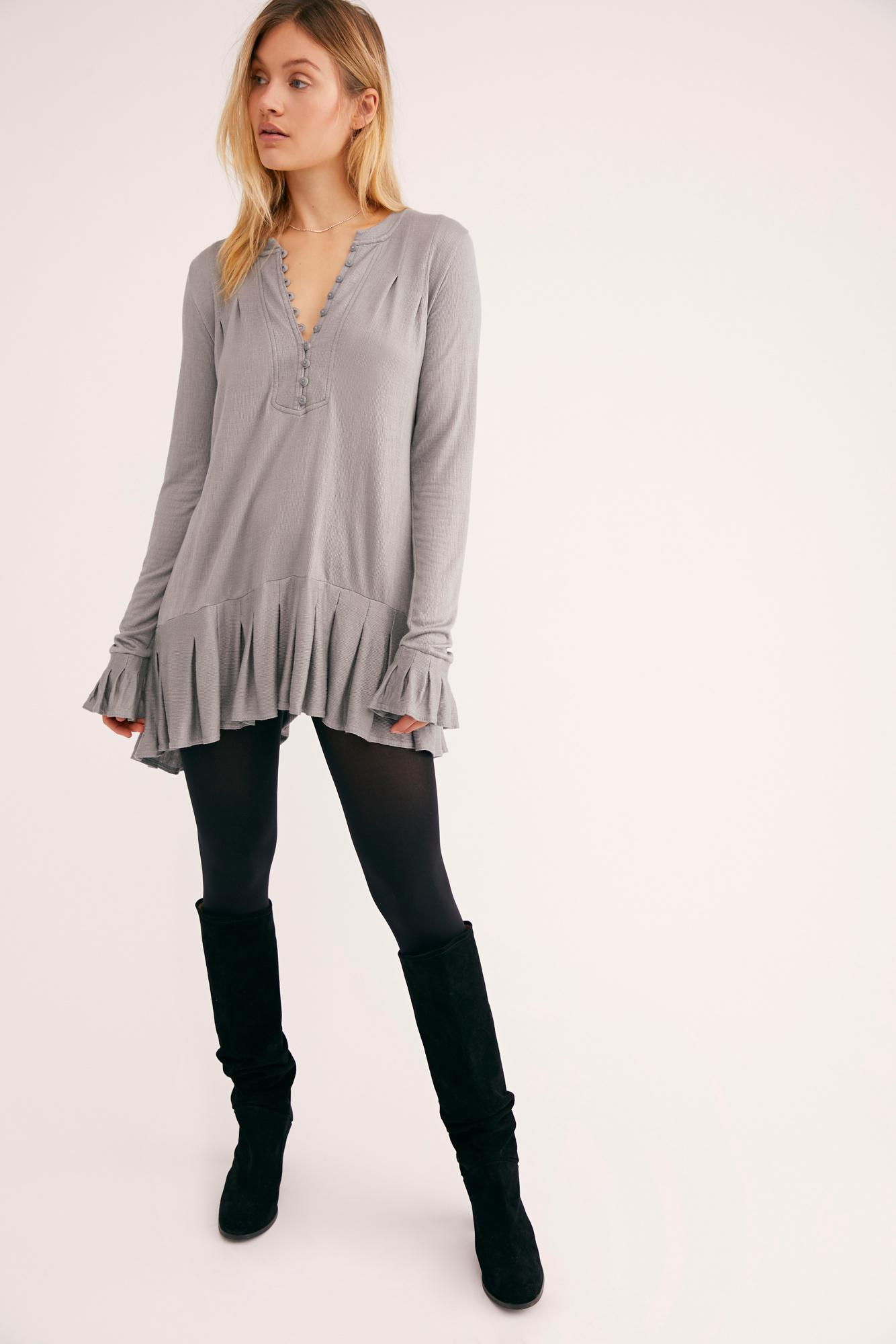 88a0af3f611 Free People Your Girl Tunic in Gray - Lyst