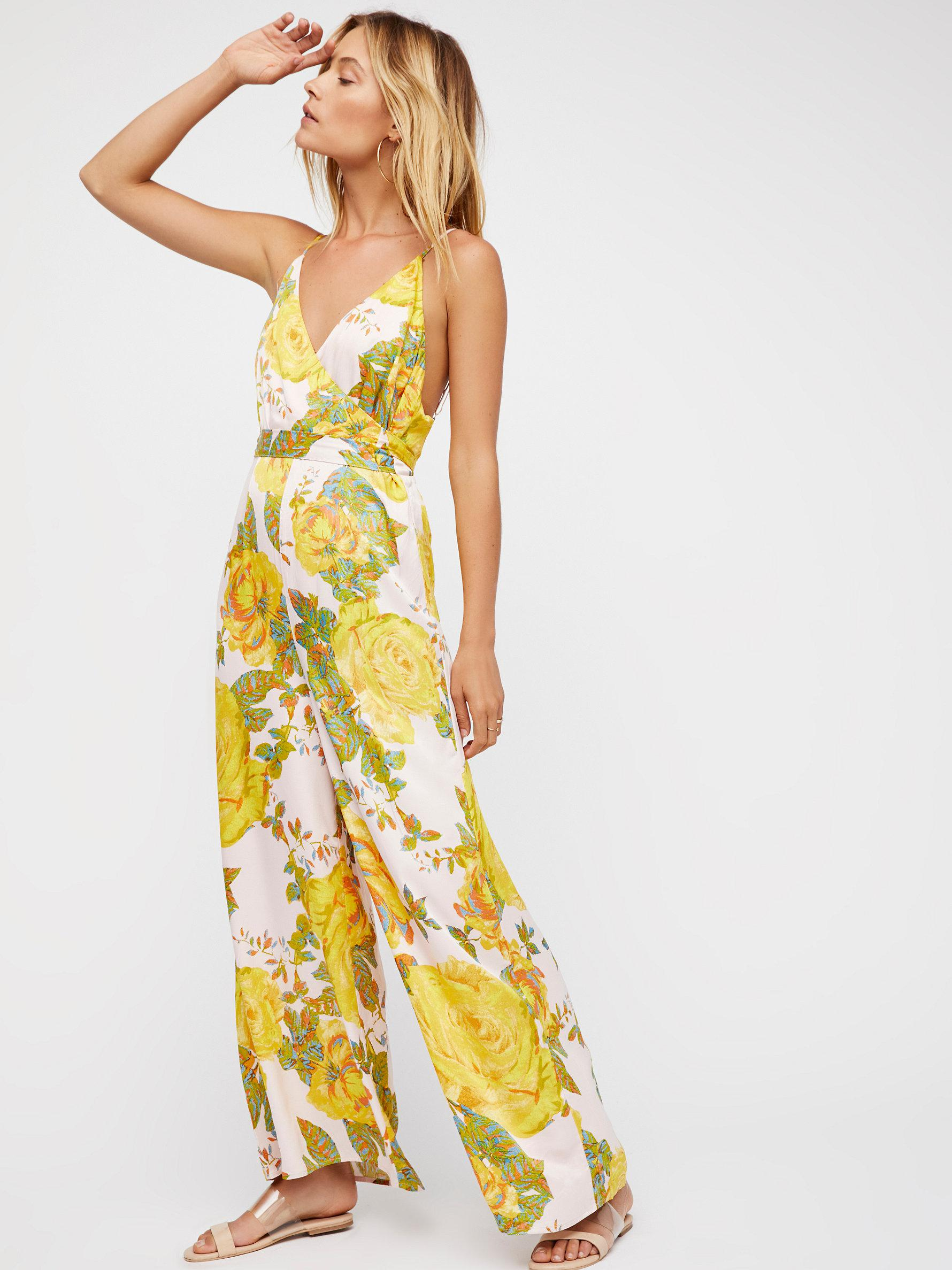 8e247a01235f Lyst - Free People Cabbage Rose Romper in Yellow