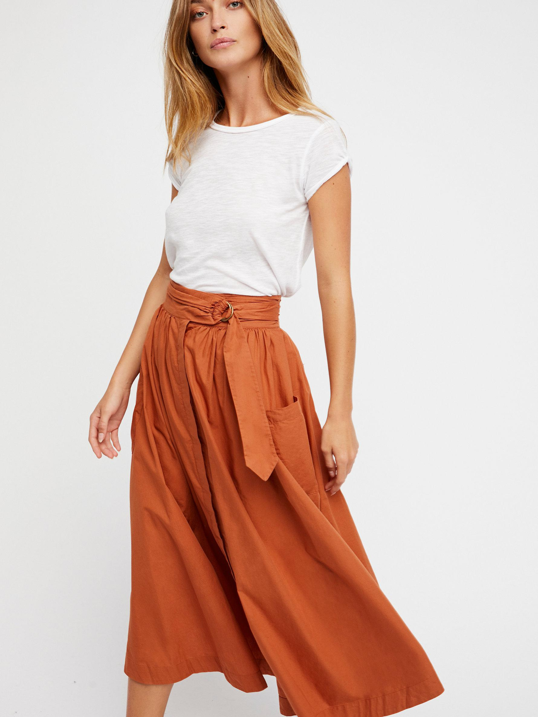 cc08a2f2fe Lyst - Free People Dream Of Me Midi Skirt in Orange