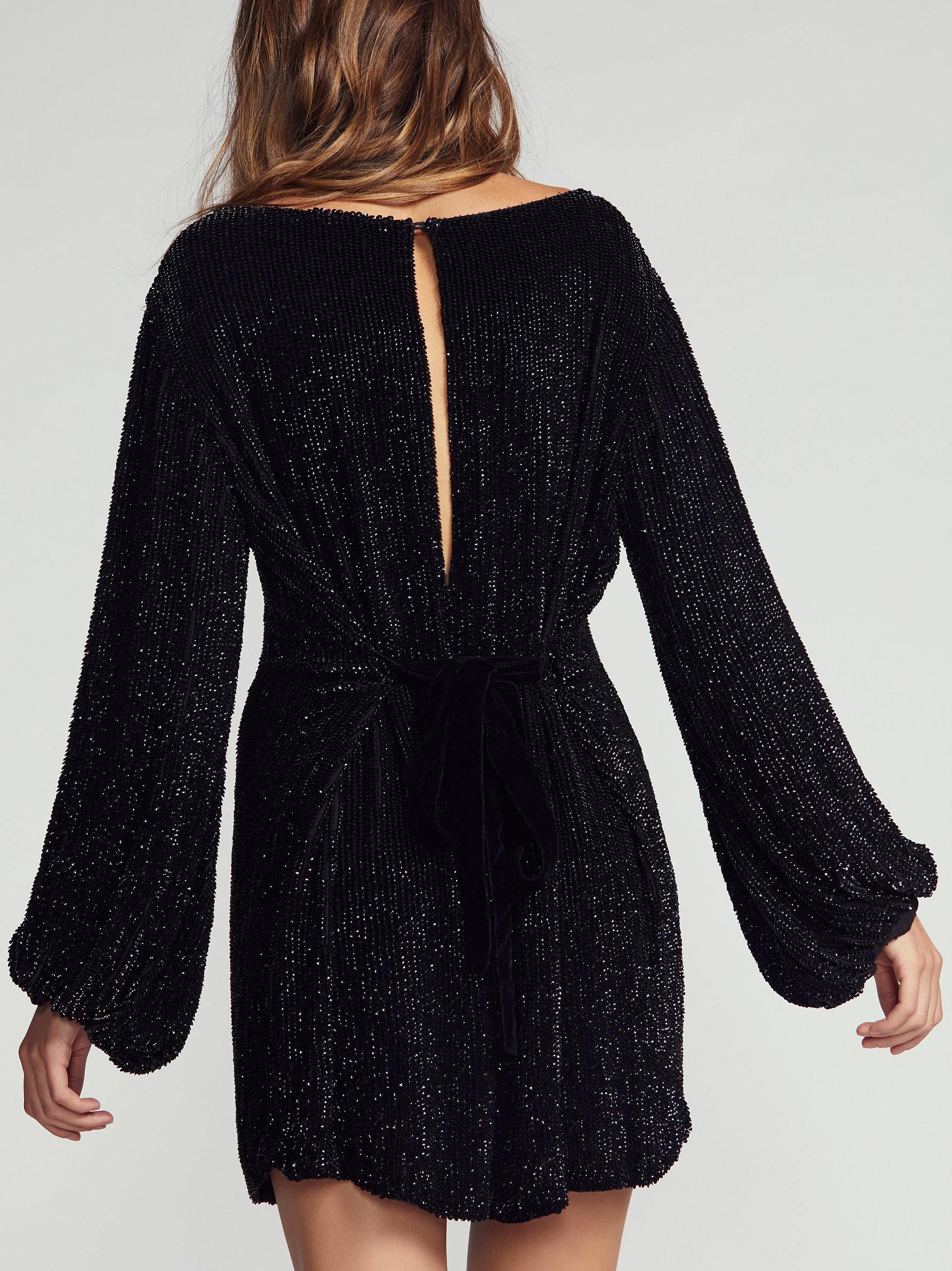 1a6f50a4 Free People Moonglow Sequin Mini Dress in Black - Lyst