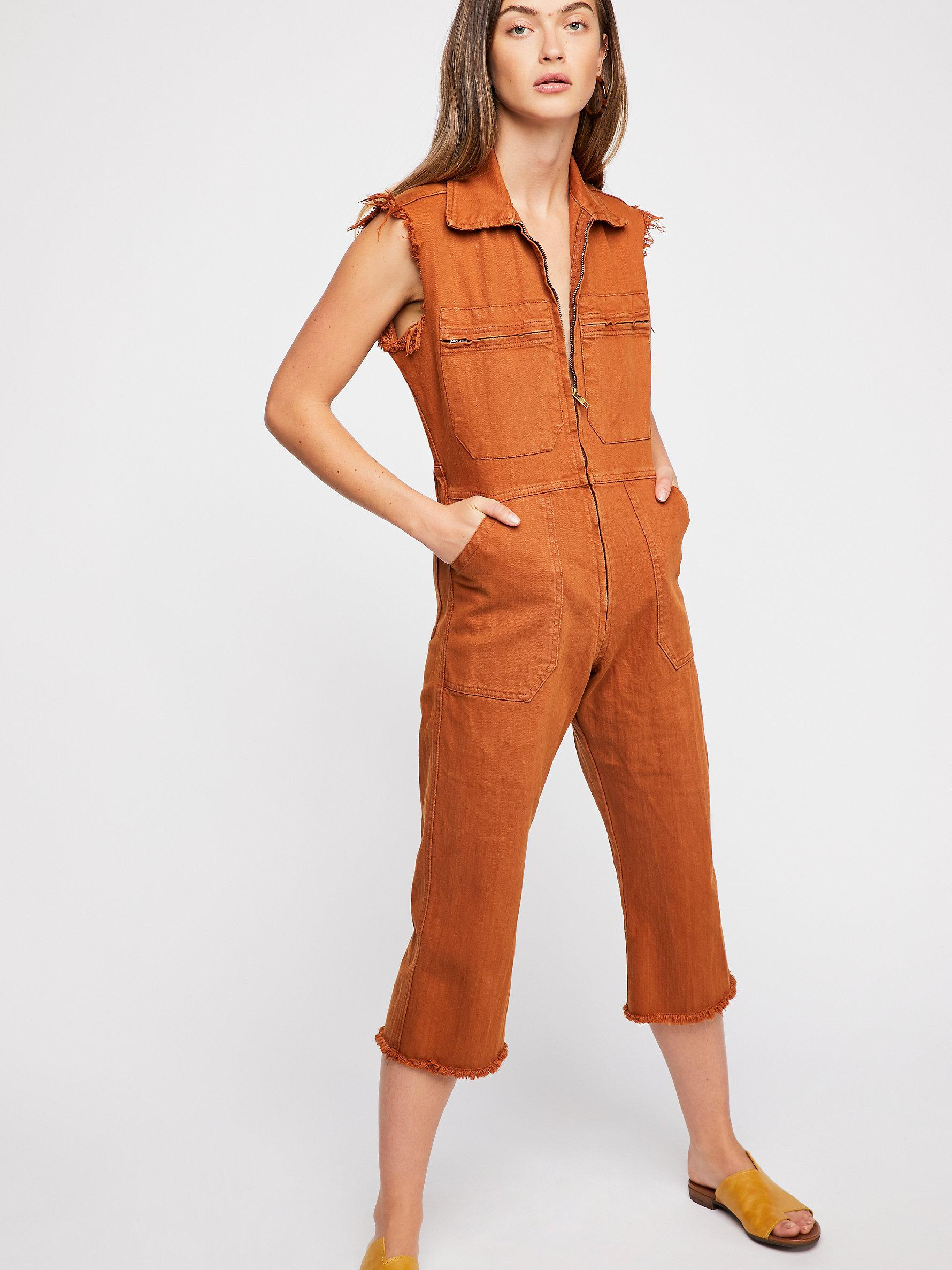 1ace63bfb5b Free People Bhena Jumpsuit By Tricia Fix in Orange - Lyst