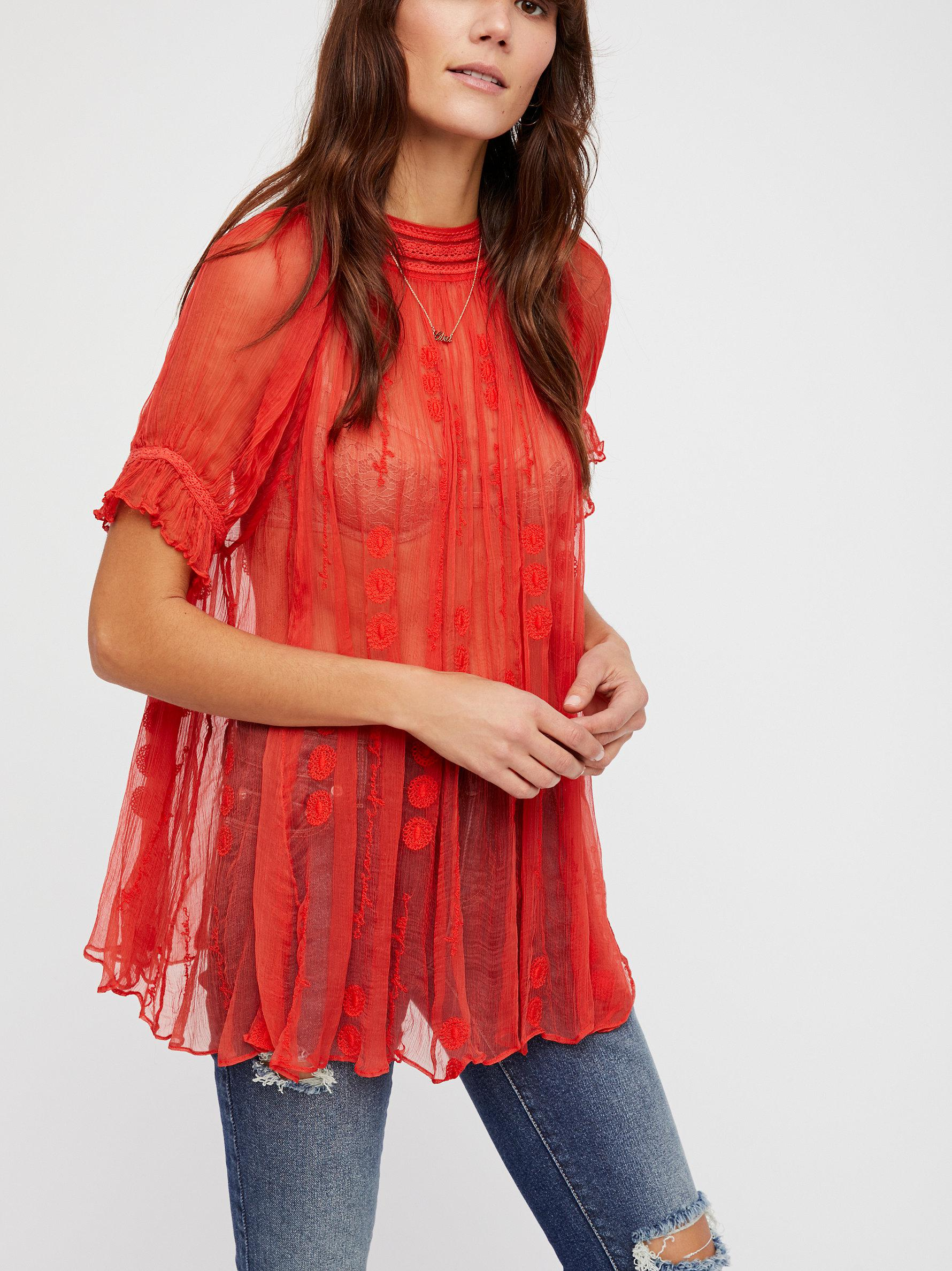 Free people Bonjour Mon Amour Top in Red | Lyst