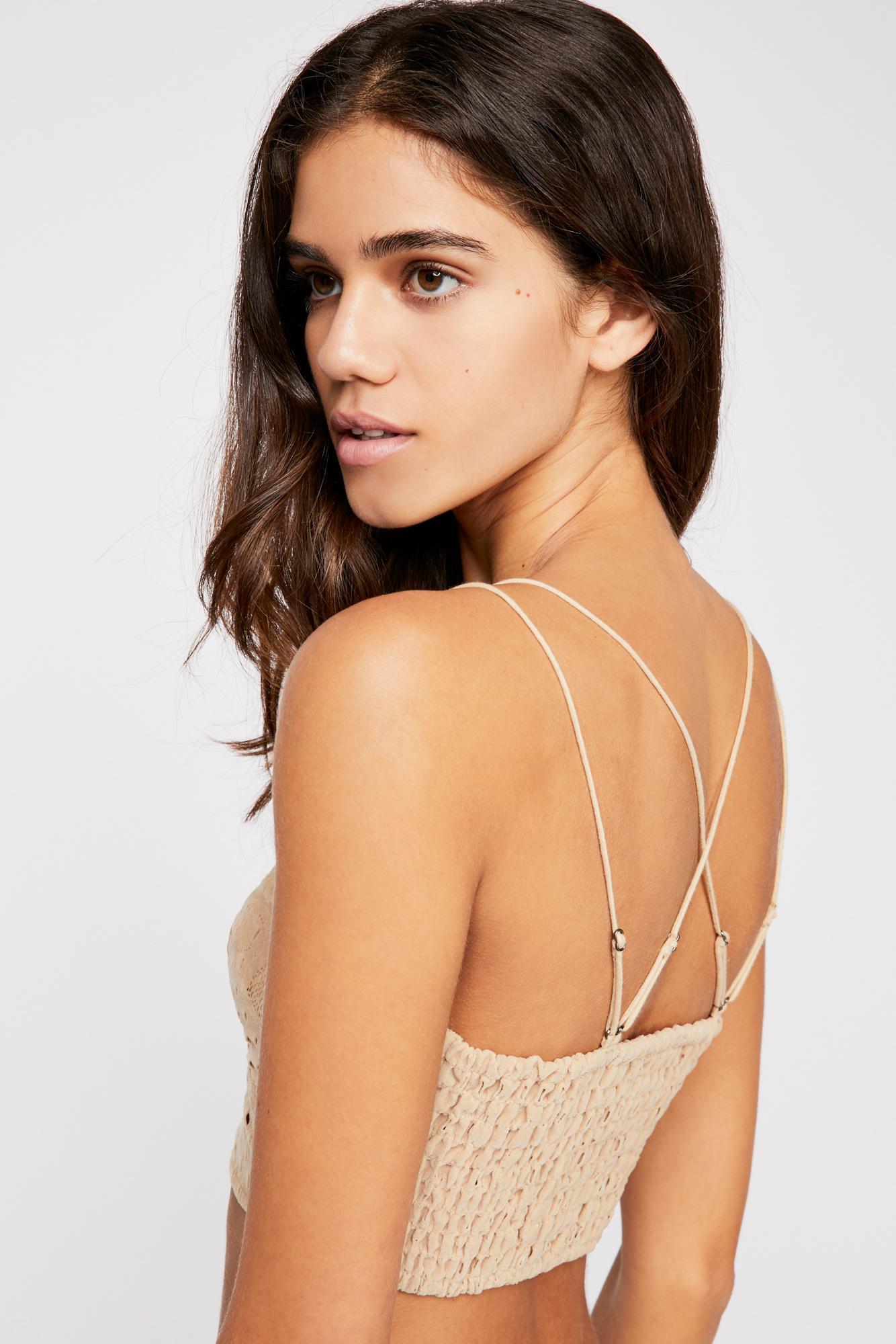 43e7716a76 Lyst - Free People Fp One Flocked Velvet Adella Bralette in White