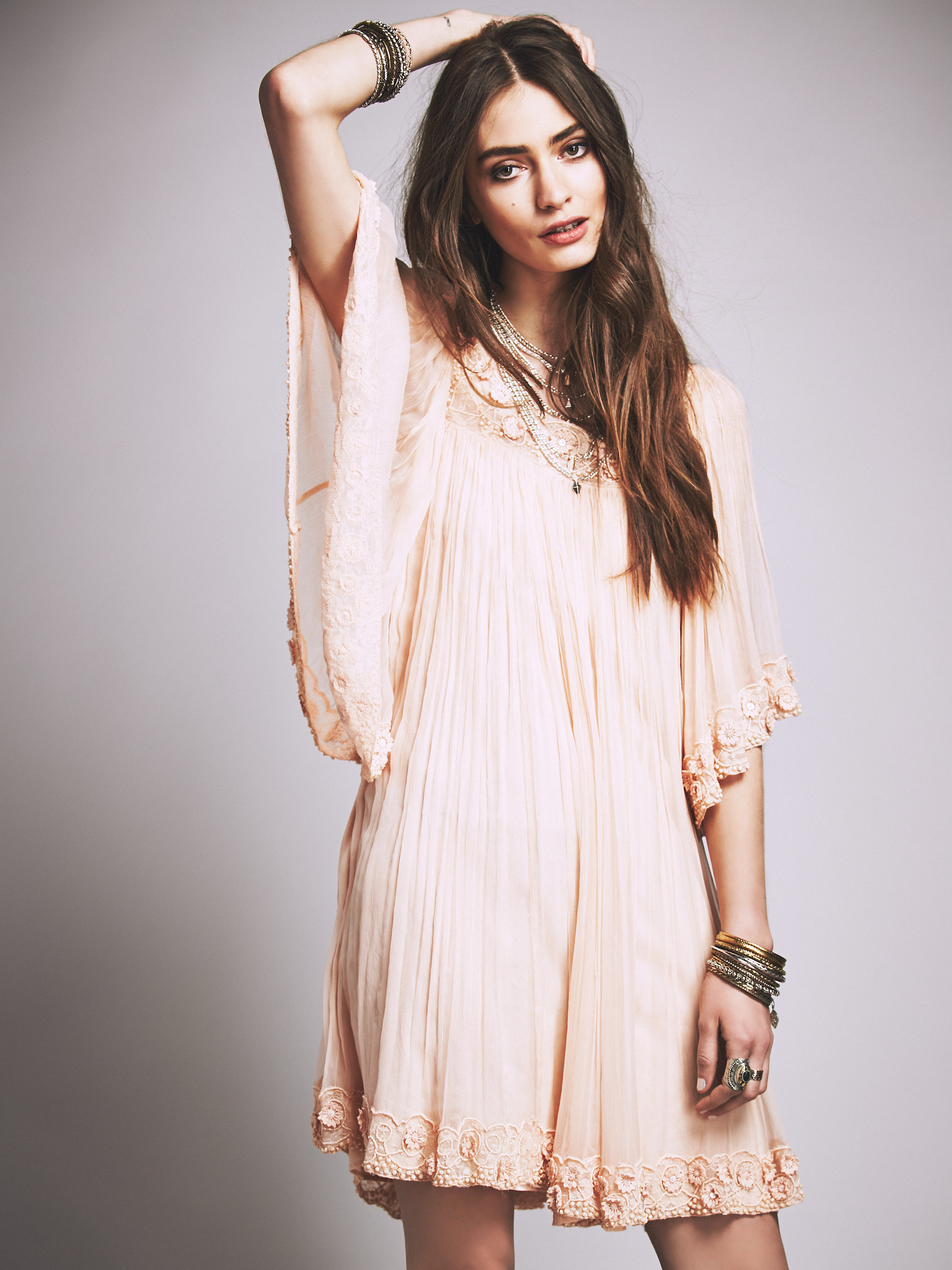 Free People Ethereal Mini Dress In Pink Lyst