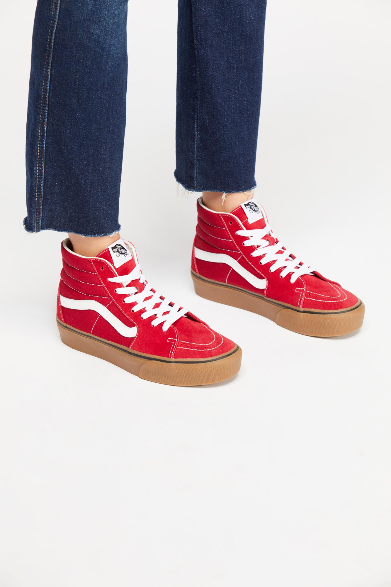 659abfae0a Free People Sk8-hi Platform 2.0 Trainers By Vans in Red - Lyst
