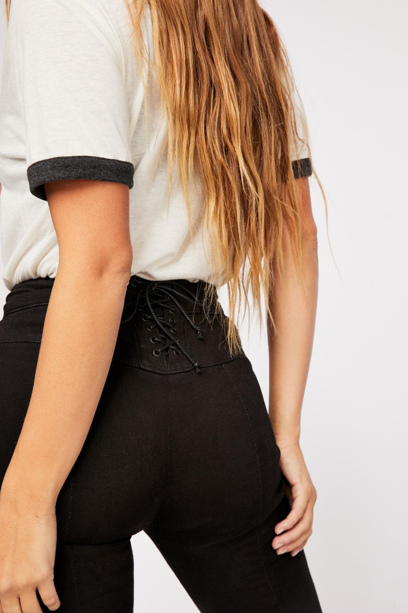 856a4704537e55 Free People Crvy Super High-rise Lace-up Flare Jeans in Black - Lyst