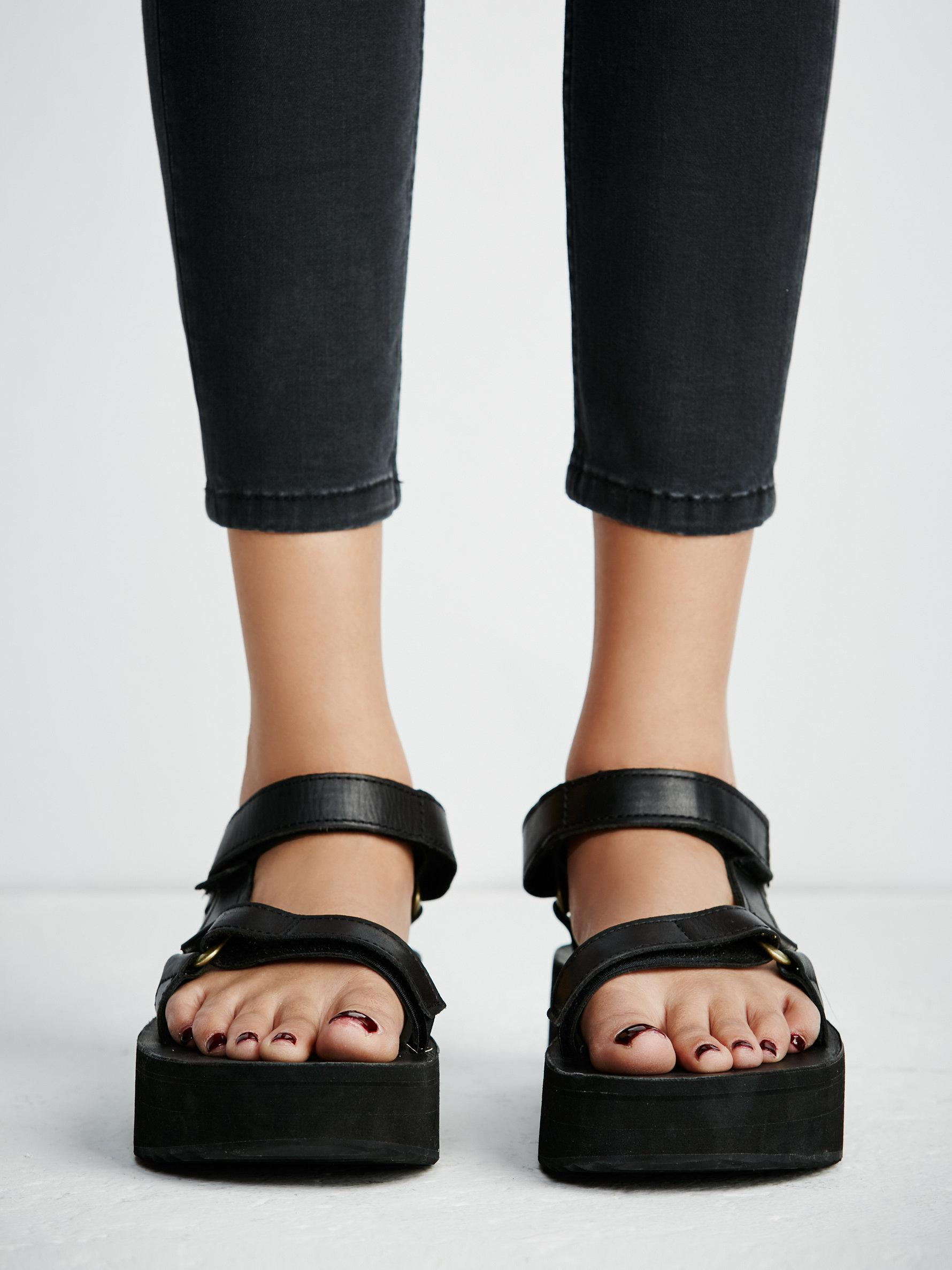 d363fa7476a Lyst - Free People Flatform Universal Crafted Teva in Black