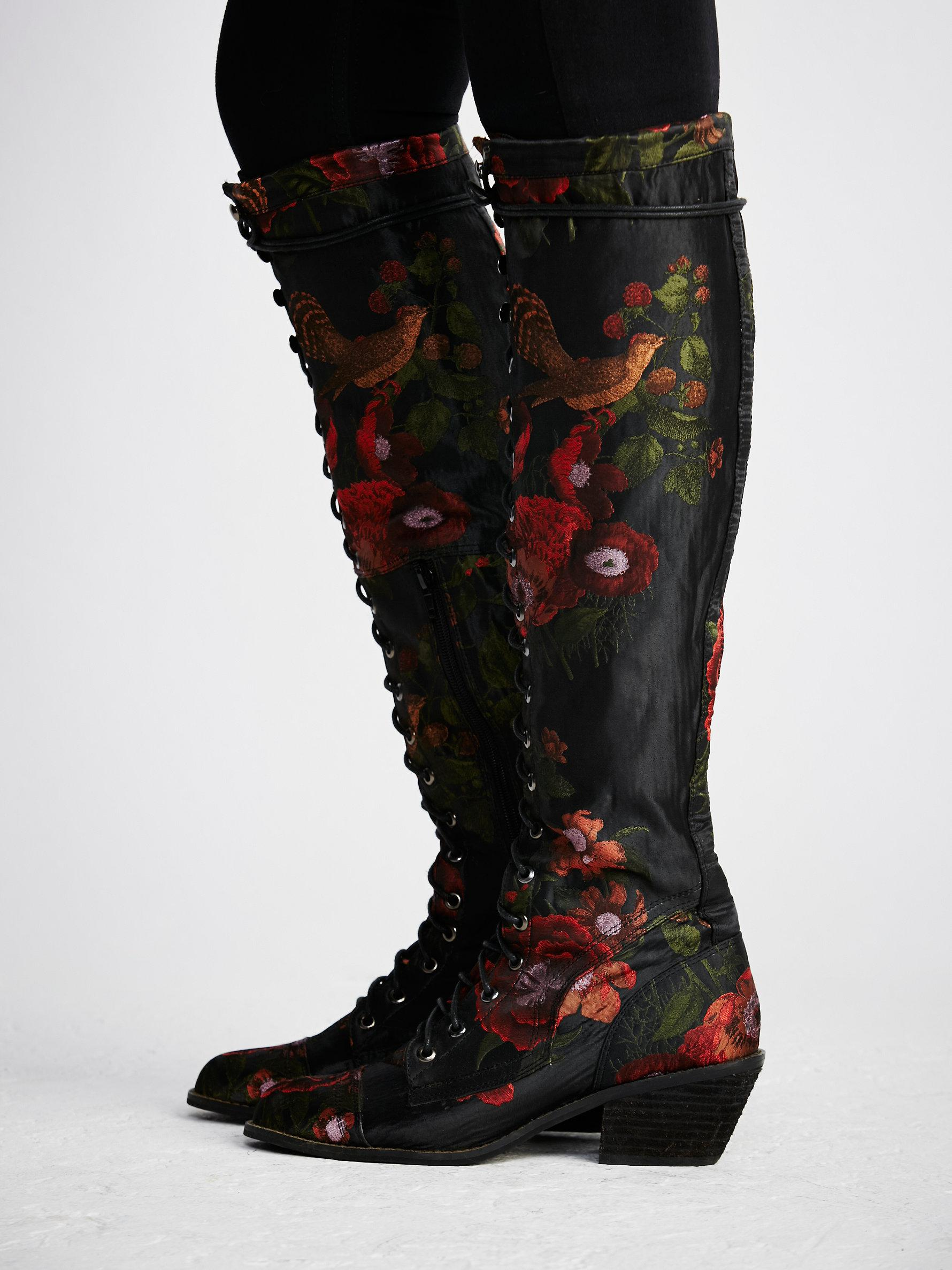 free floral joe lace up boot in black lyst