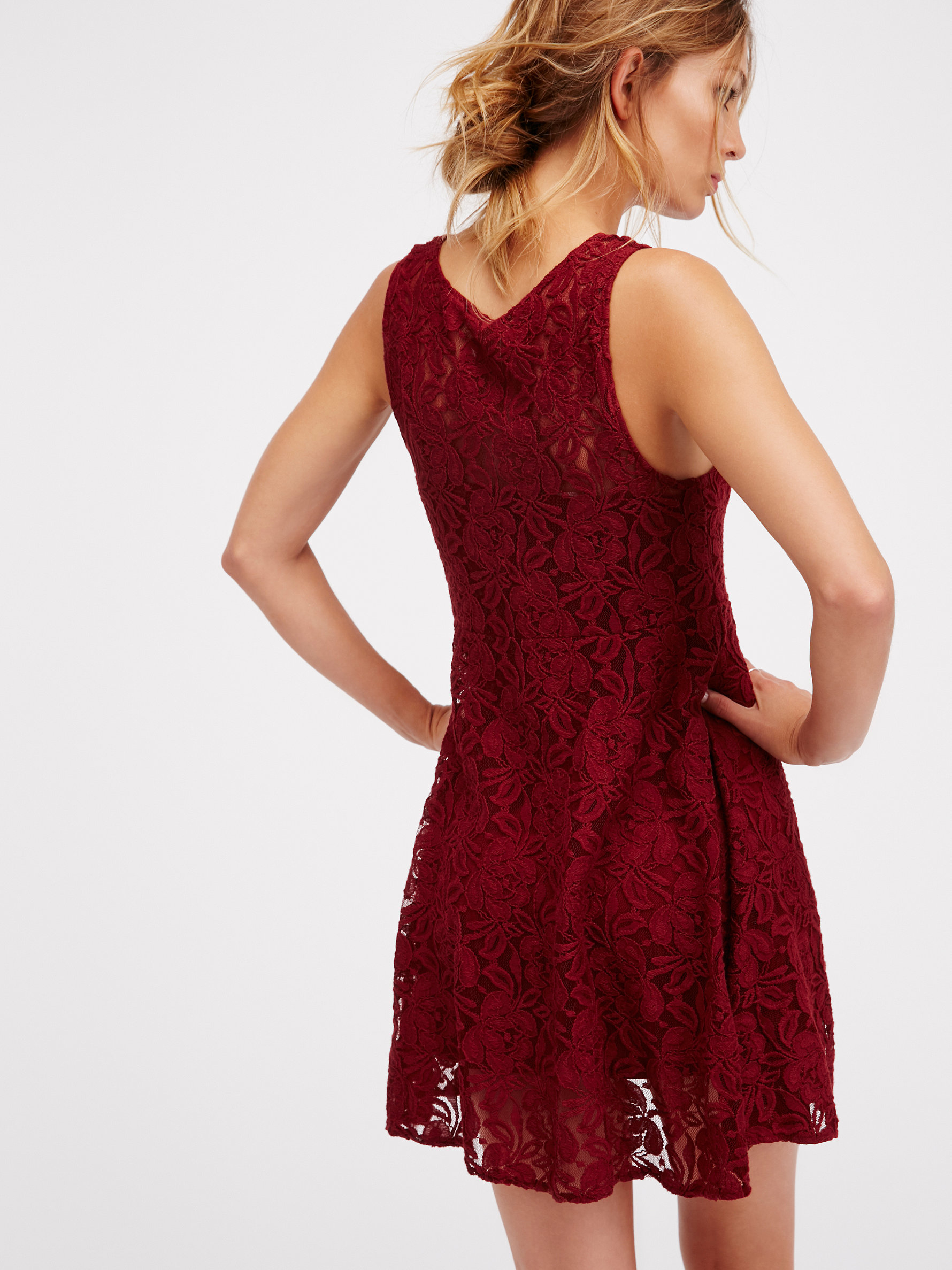 Lyst Free People Forever And Ever Lace Dress In Red