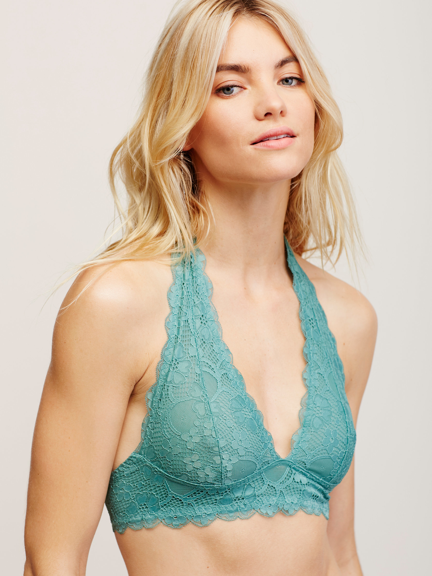 d1514fb32adde Lyst - Free People Galloon Lace Halter Bra in Green