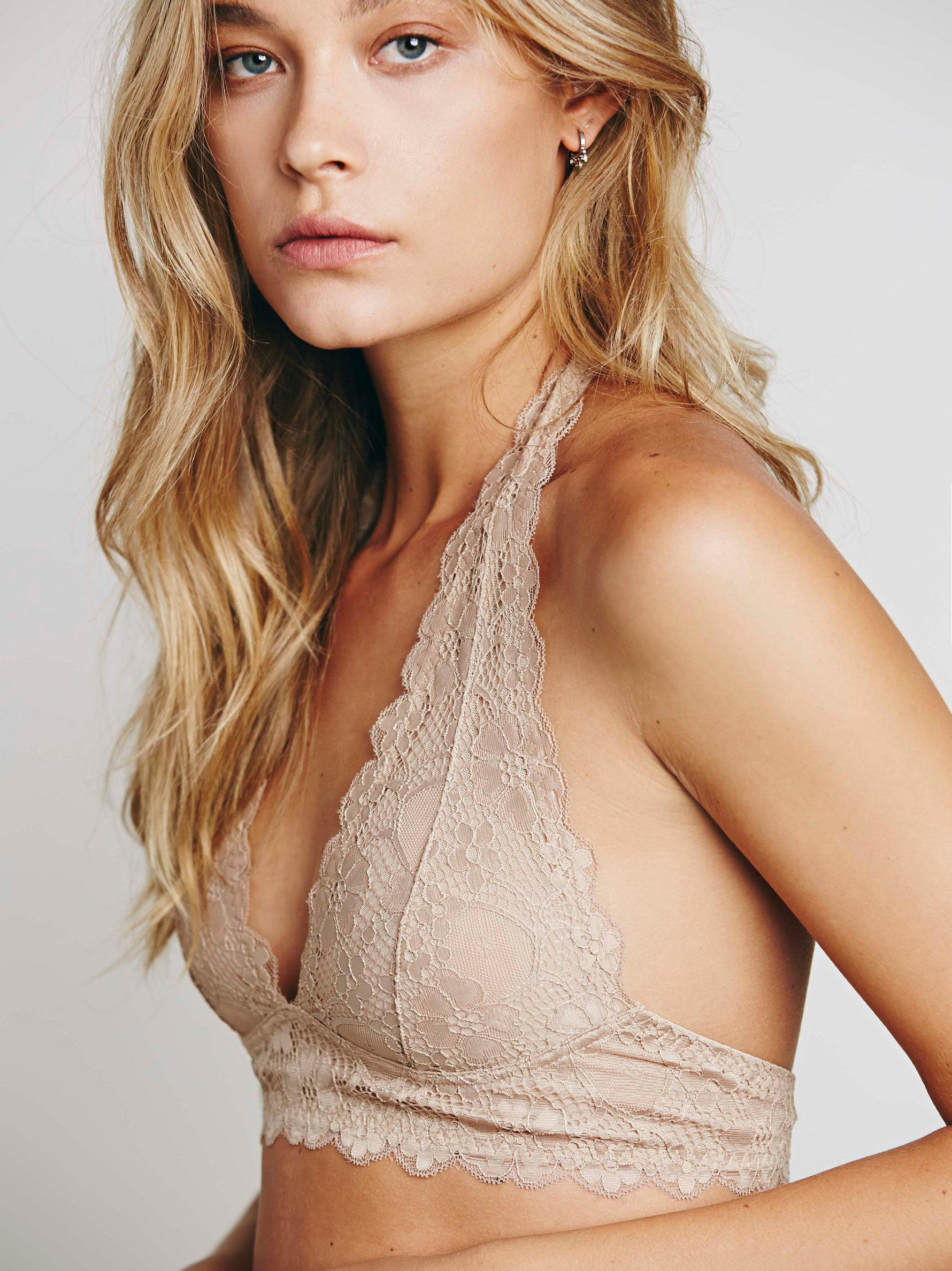 75fd3e2500a7b Free People Galloon Lace Halter Bra in Natural - Lyst