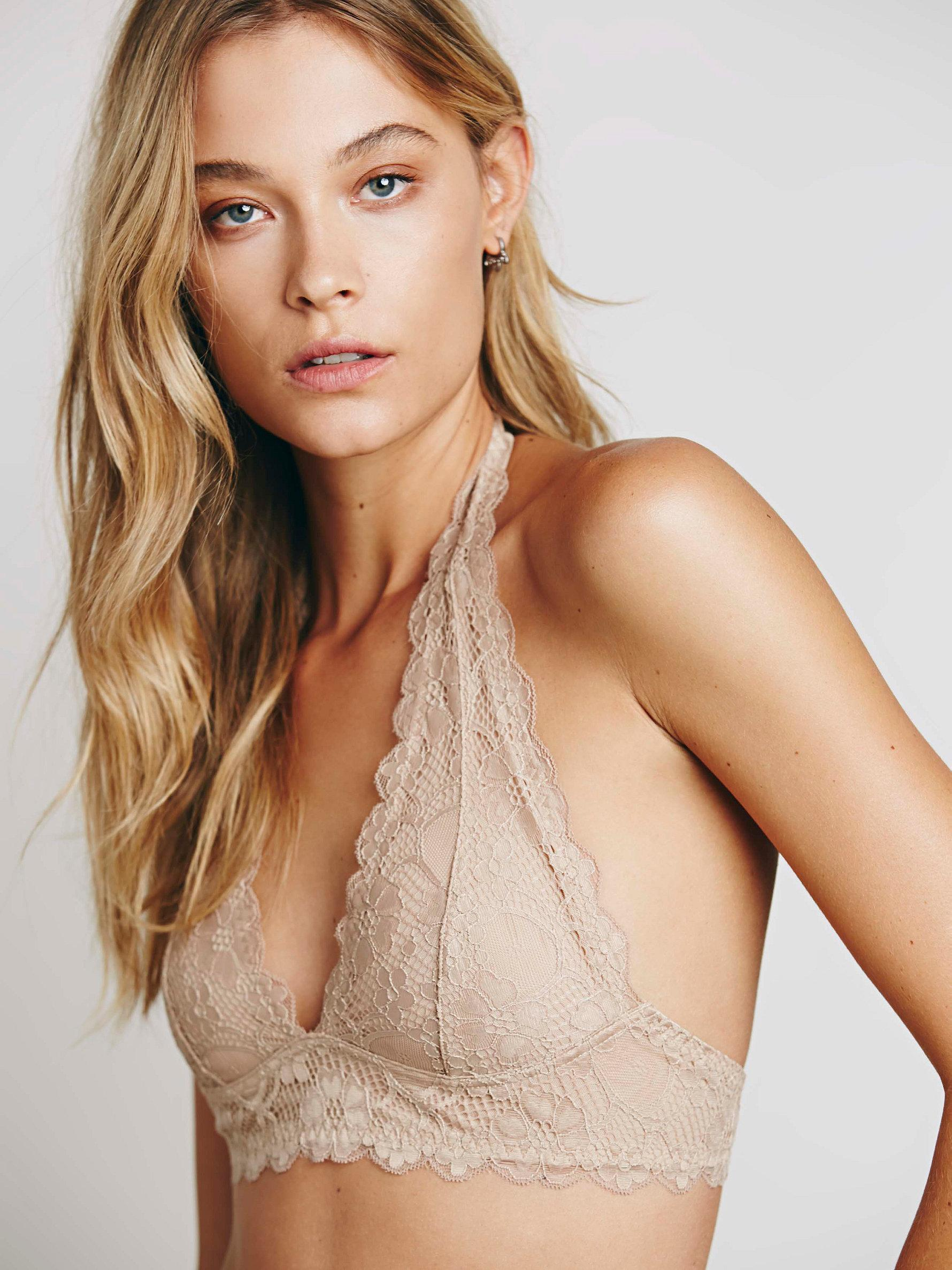 50586025df7ad Free People Galloon Lace Halter Bra in Natural - Lyst