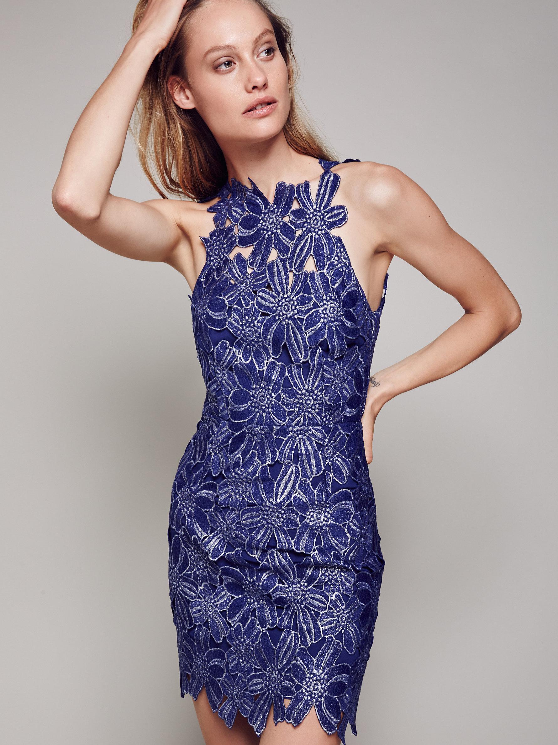 Lyst - Free People Jessa Foil Lace Dress in Blue c1706fad0