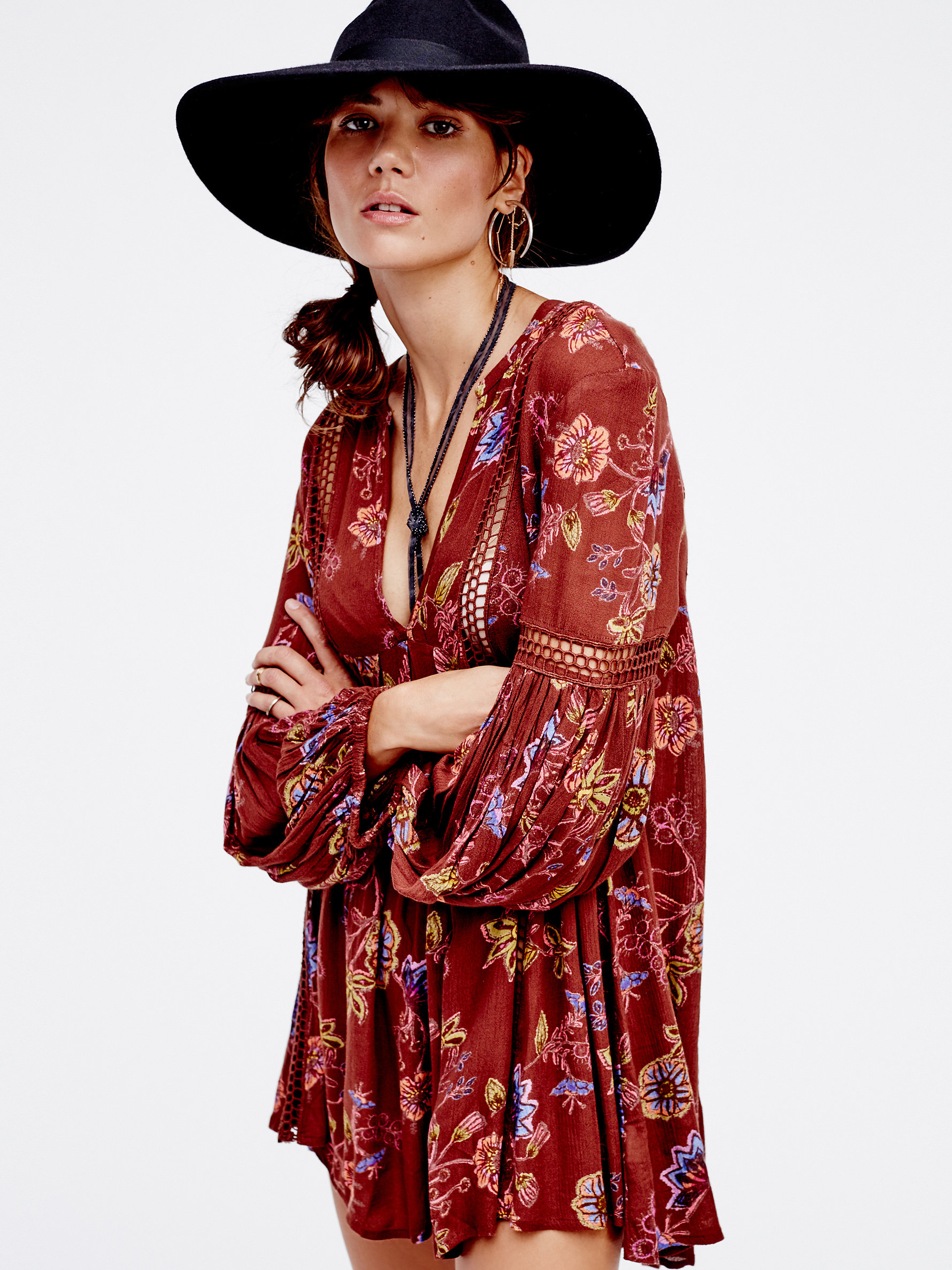 40c1681bd9e Lyst - Free People Just The Two Of Us Printed Tunic
