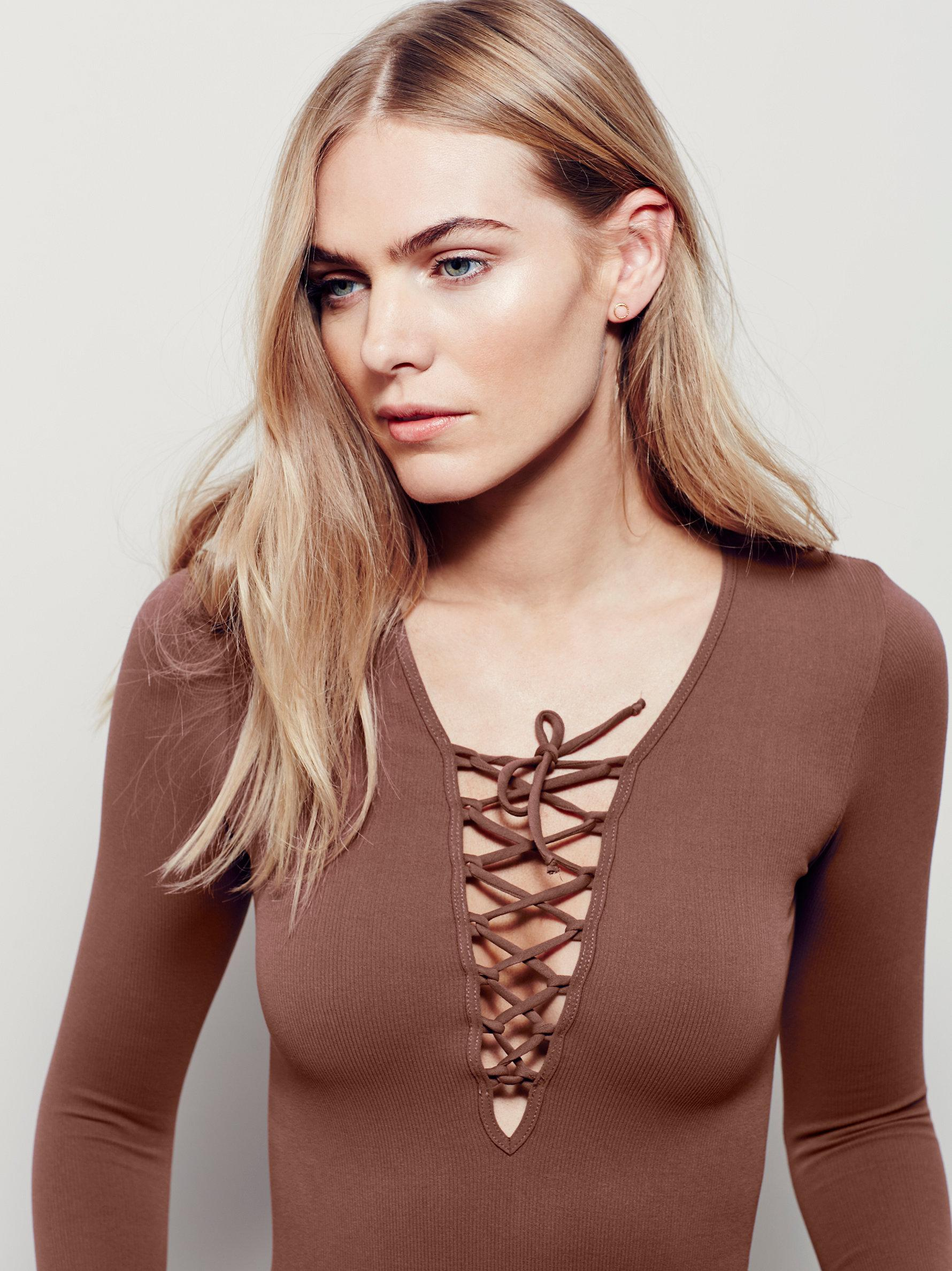 Lyst - Free People Intimately Lace-Up Top in Brown c7e1d5c8d