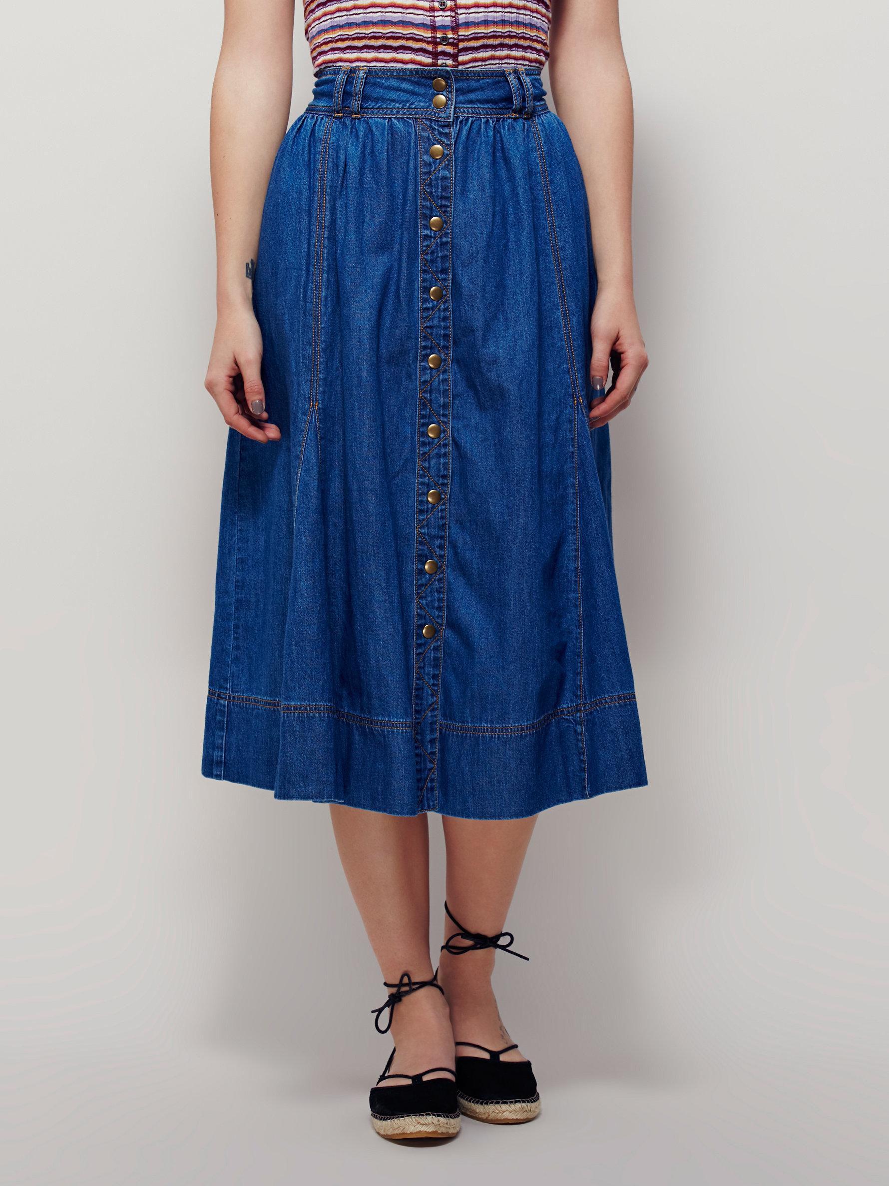 free womens margo denim midi skirt in blue lyst