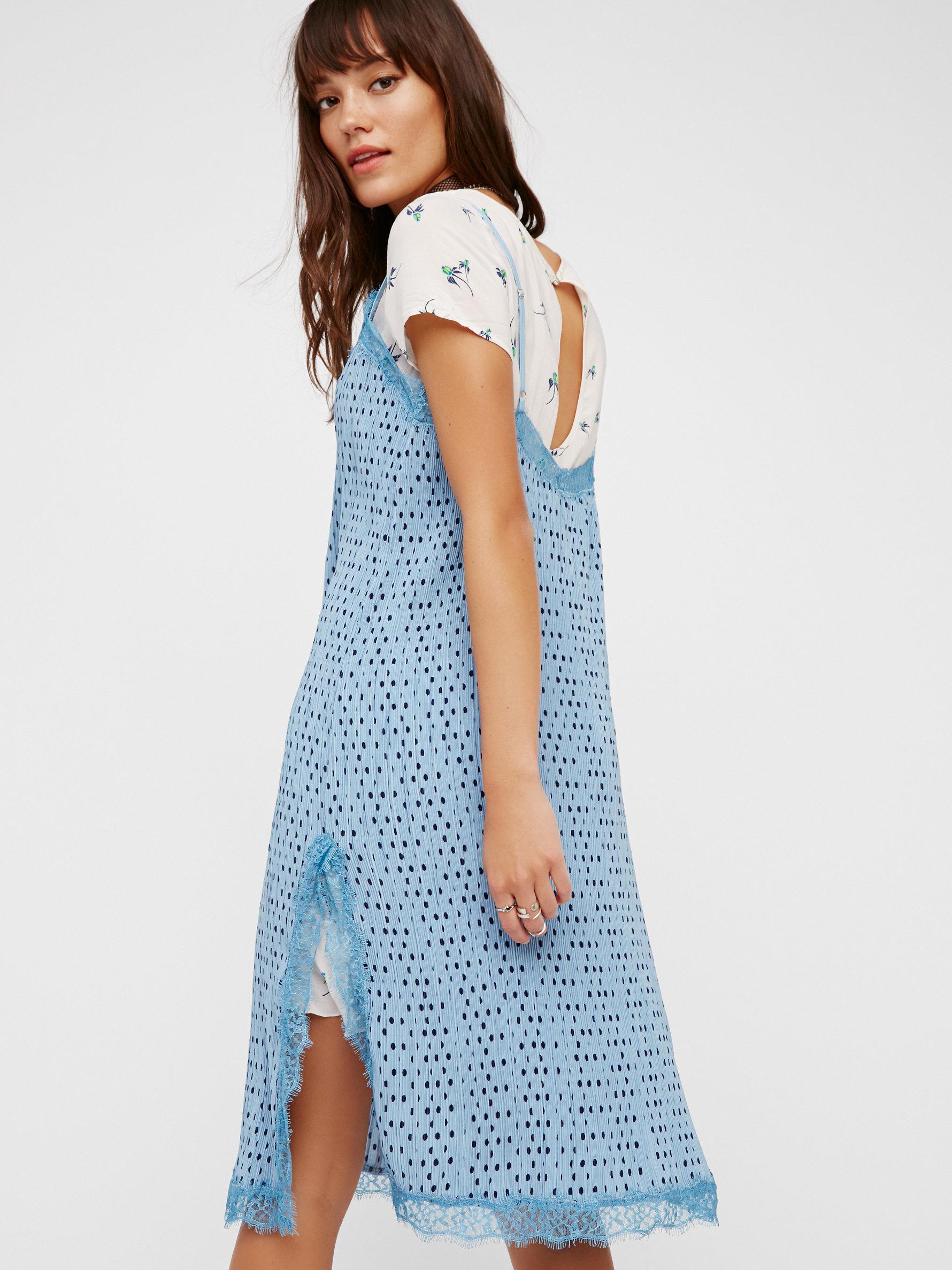 56391e2f0ae Lyst - Free People Margot 2fer Slip Dress in Blue