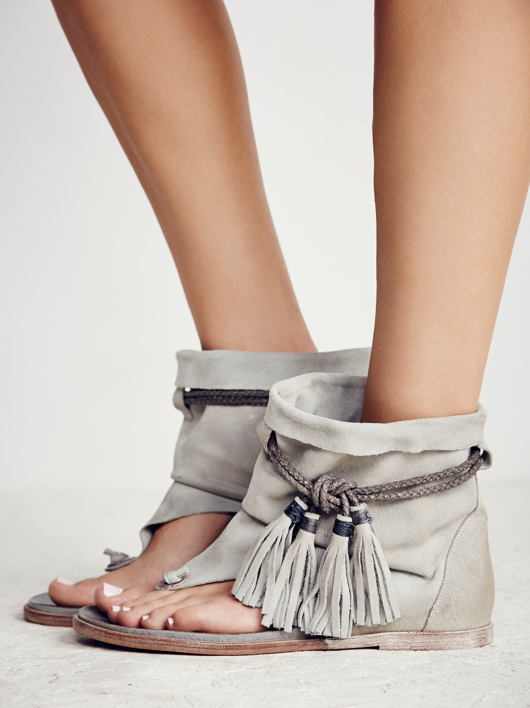 Free People Marlo Boot Sandal In Gray Lyst
