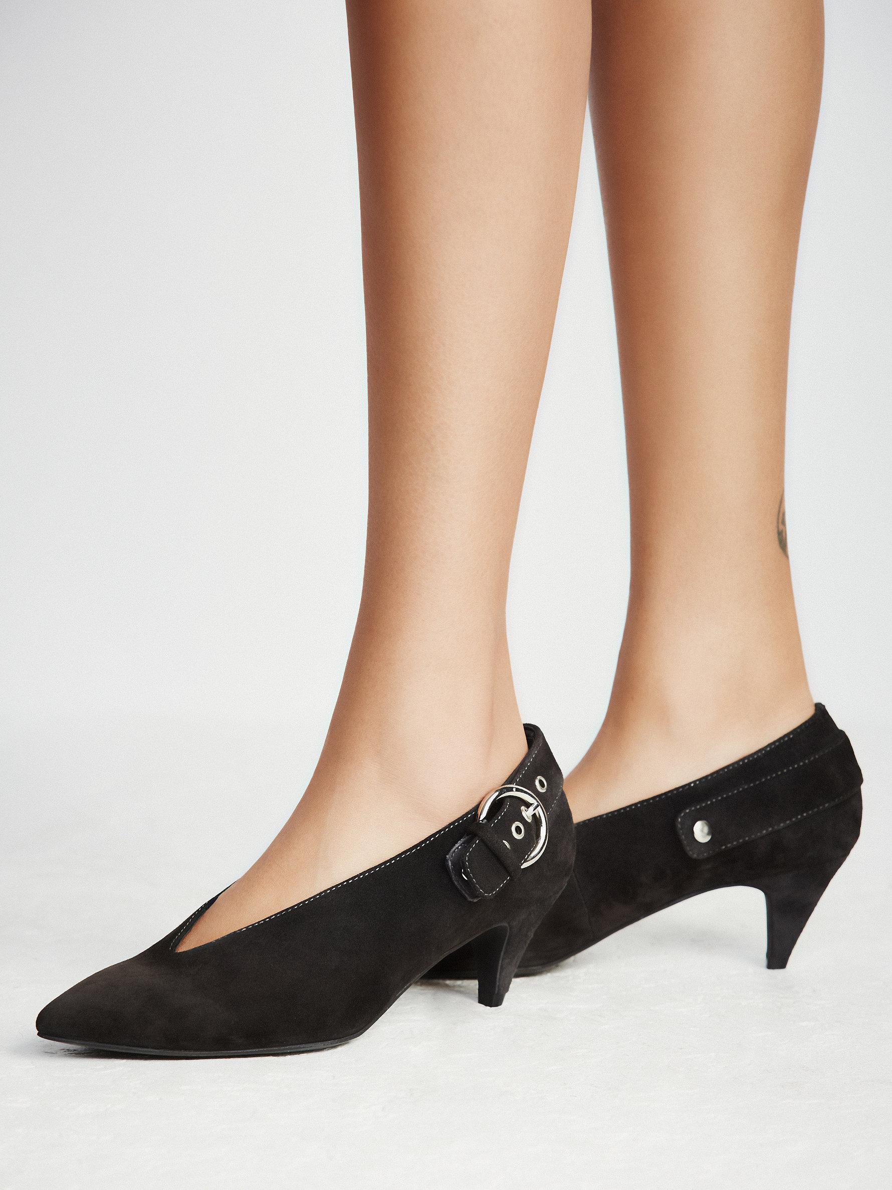 Dark Grey Kitten Heel Shoes