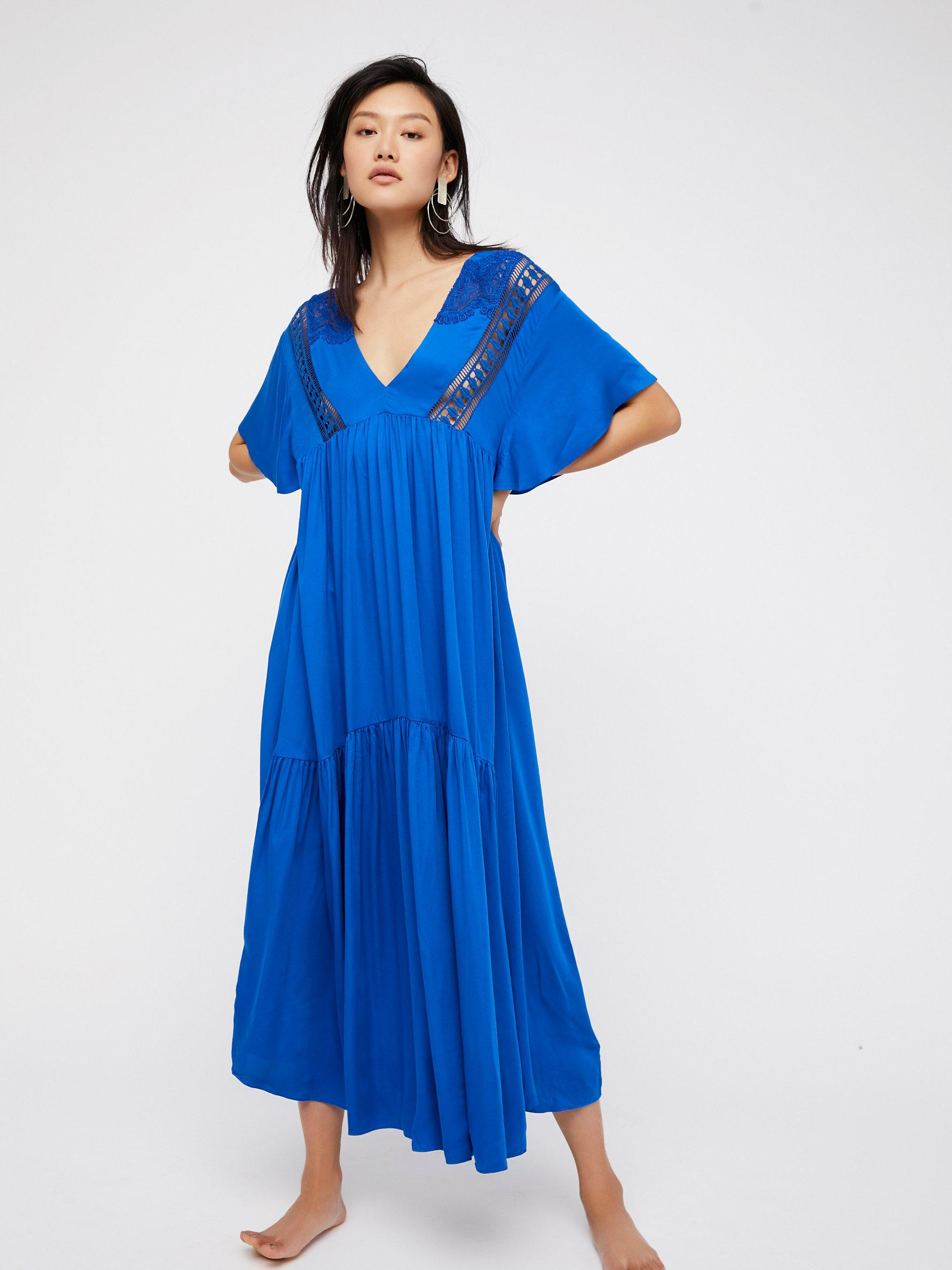 Free people Simply Extreme Maxi Dress in Blue | Lyst
